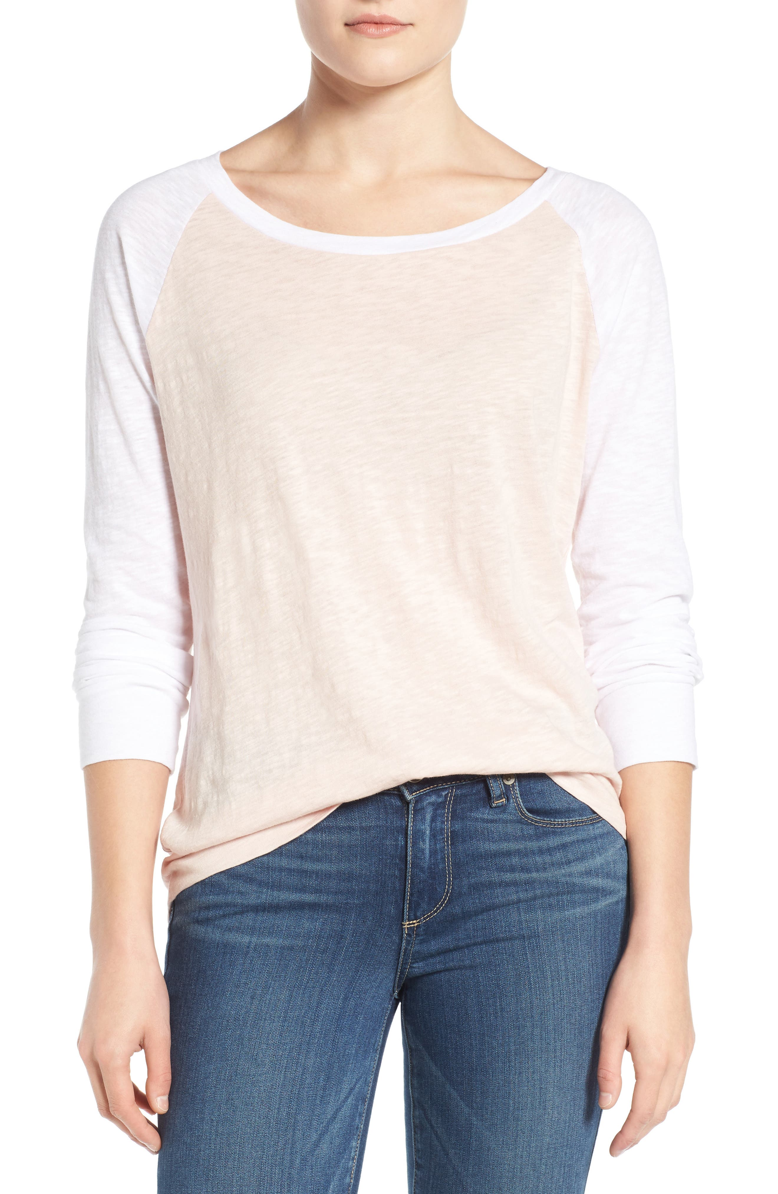 Lightweight Colorblock Cotton Tee,                             Main thumbnail 1, color,                             Pink Peach- White Colorblock