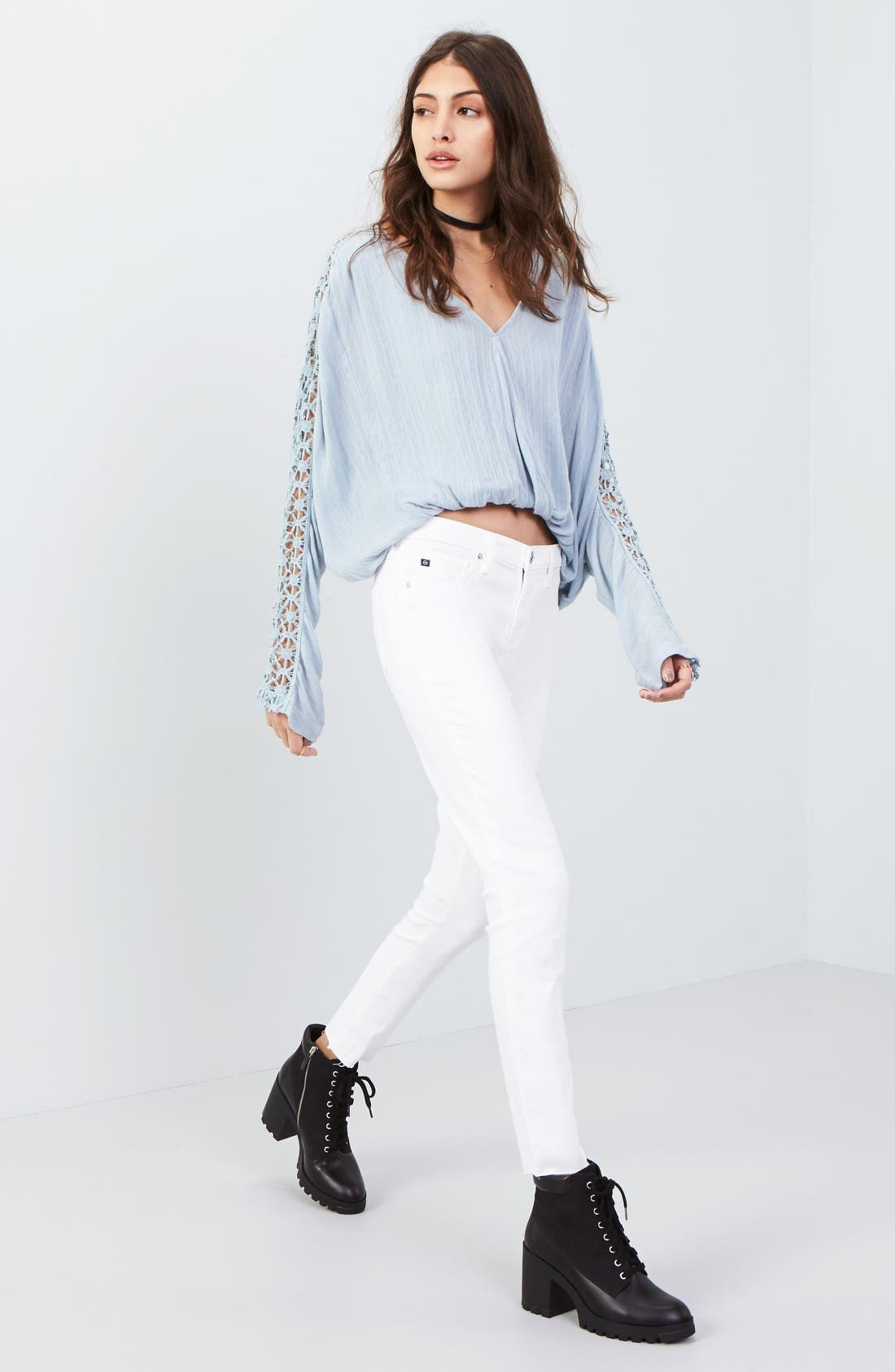 Free People Blouse & AG Jeans Outfit with Accessories