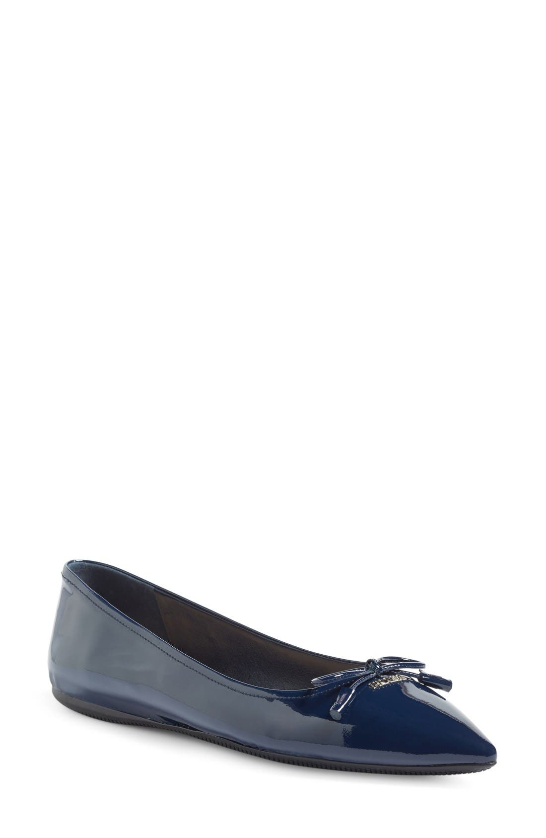 Pointy Toe Flat,                         Main,                         color, Royal Patent