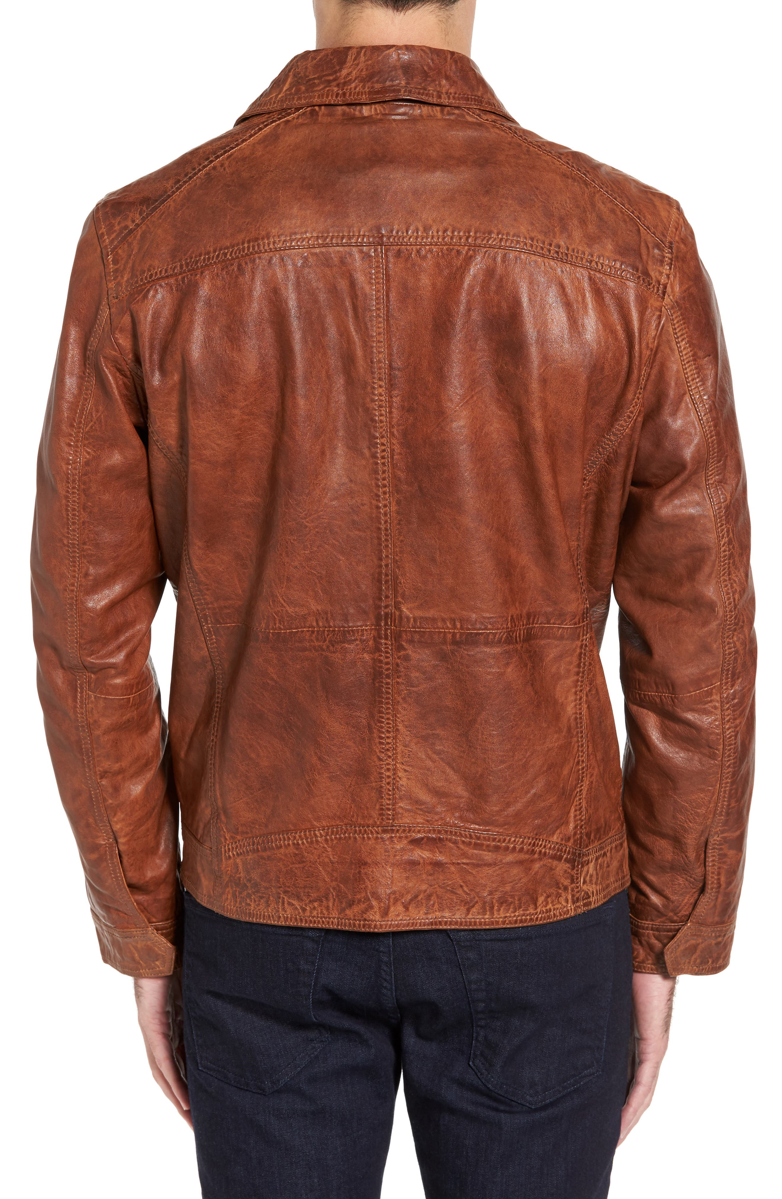 Washed Lamb Leather Jacket,                             Alternate thumbnail 2, color,                             Cognac