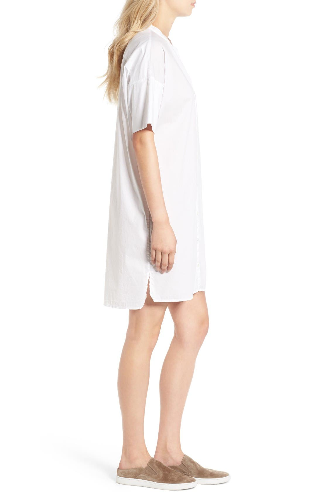 Rolled Sleeve Shirtdress,                             Alternate thumbnail 3, color,                             White