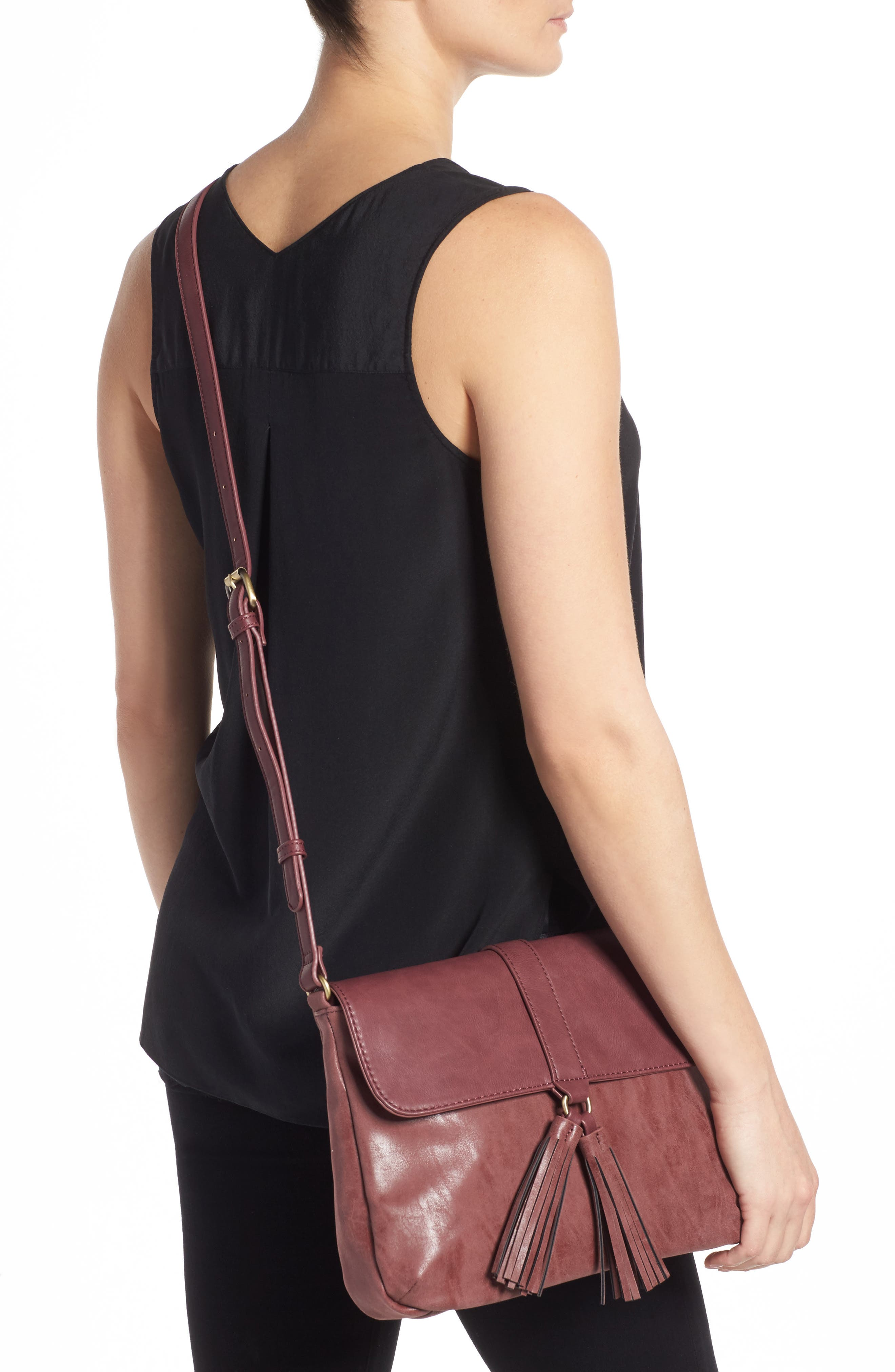 Alternate Image 2  - Emperia Saydie Tassel Faux Leather Crossbody Bag (Special Purchase)