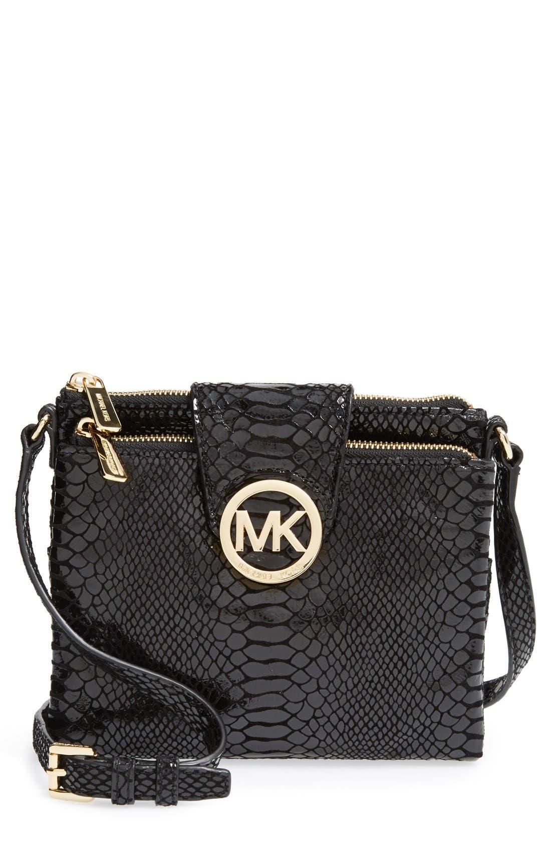 Alternate Image 1 Selected - MICHAEL Michael Kors 'Large Fulton' Embossed Patent Crossbody Bag