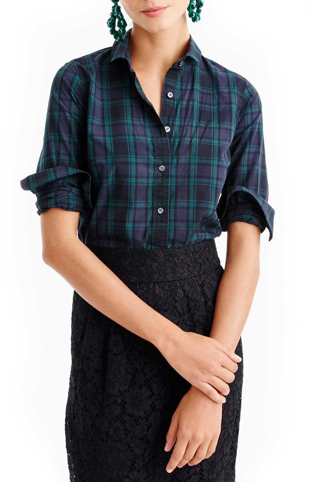 Perfect Club Collar Black Watch Plaid Shirt,                         Main,                         color, Midnight Emerald