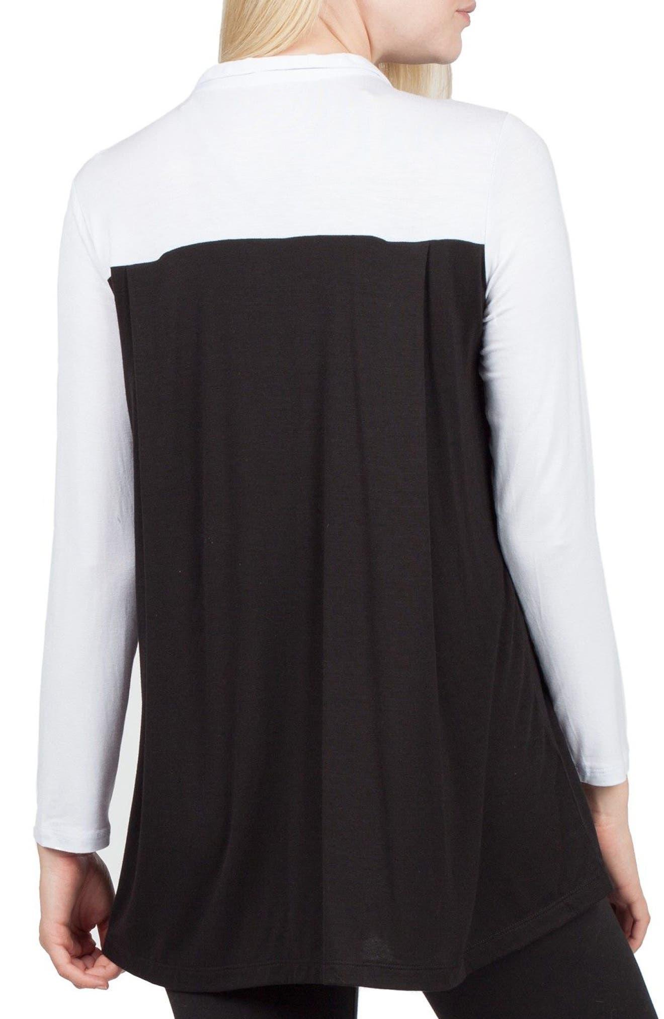Berlin Colorblock Maternity/Nursing Tunic,                             Alternate thumbnail 2, color,                             Black/ White Contrast