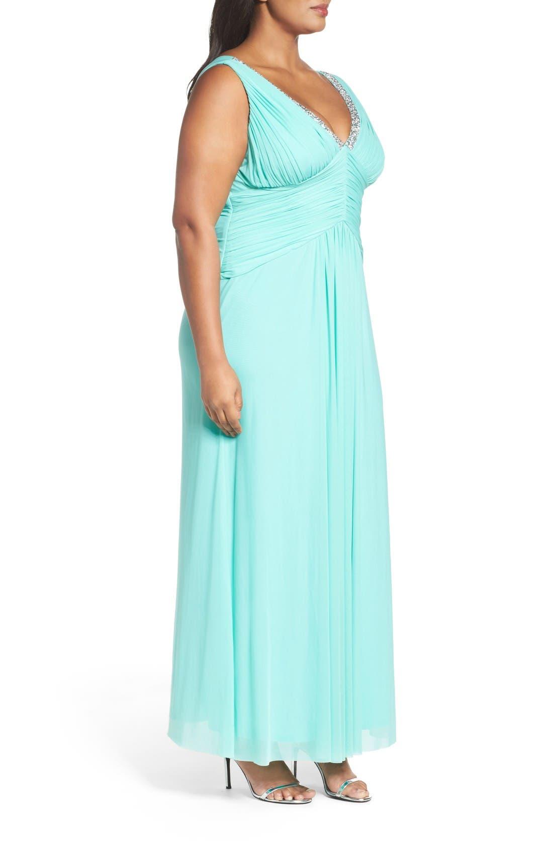 Alternate Image 3  - Marina Beaded V-Neck Pleat Mesh Gown (Plus Size)