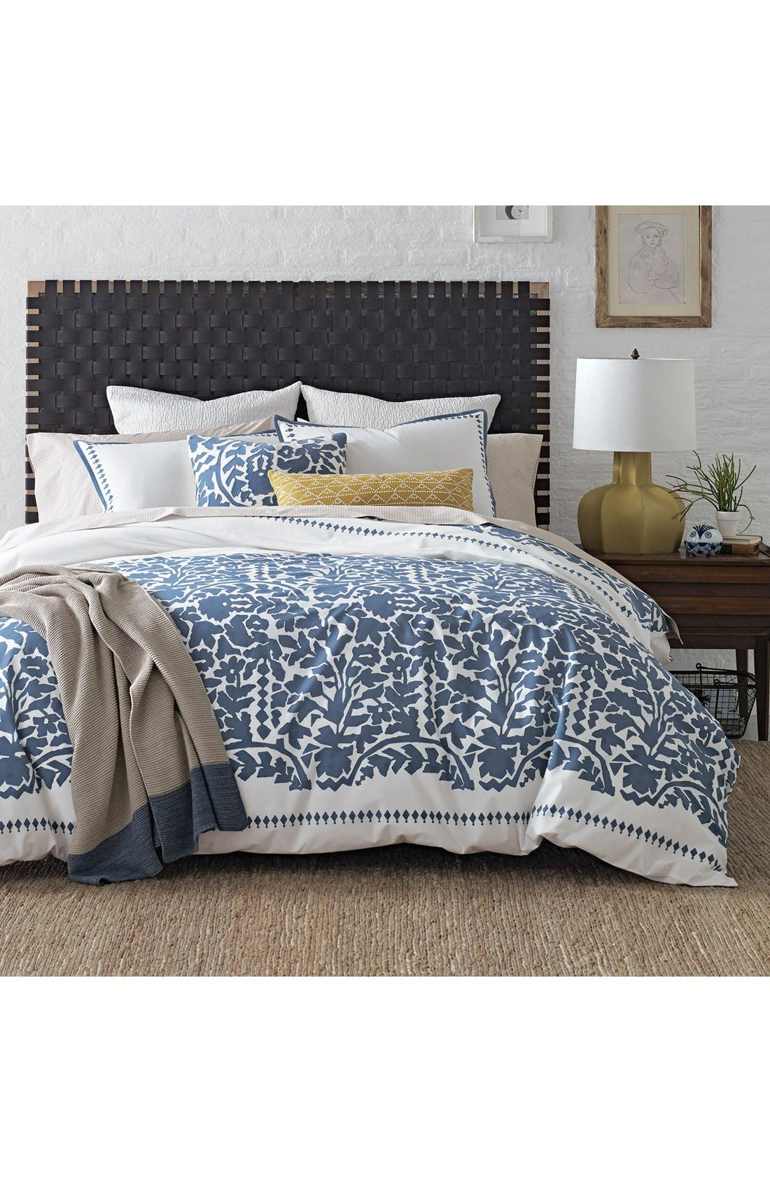 Oaxaca Prussian Duvet Cover,                         Main,                         color, Dark Blue