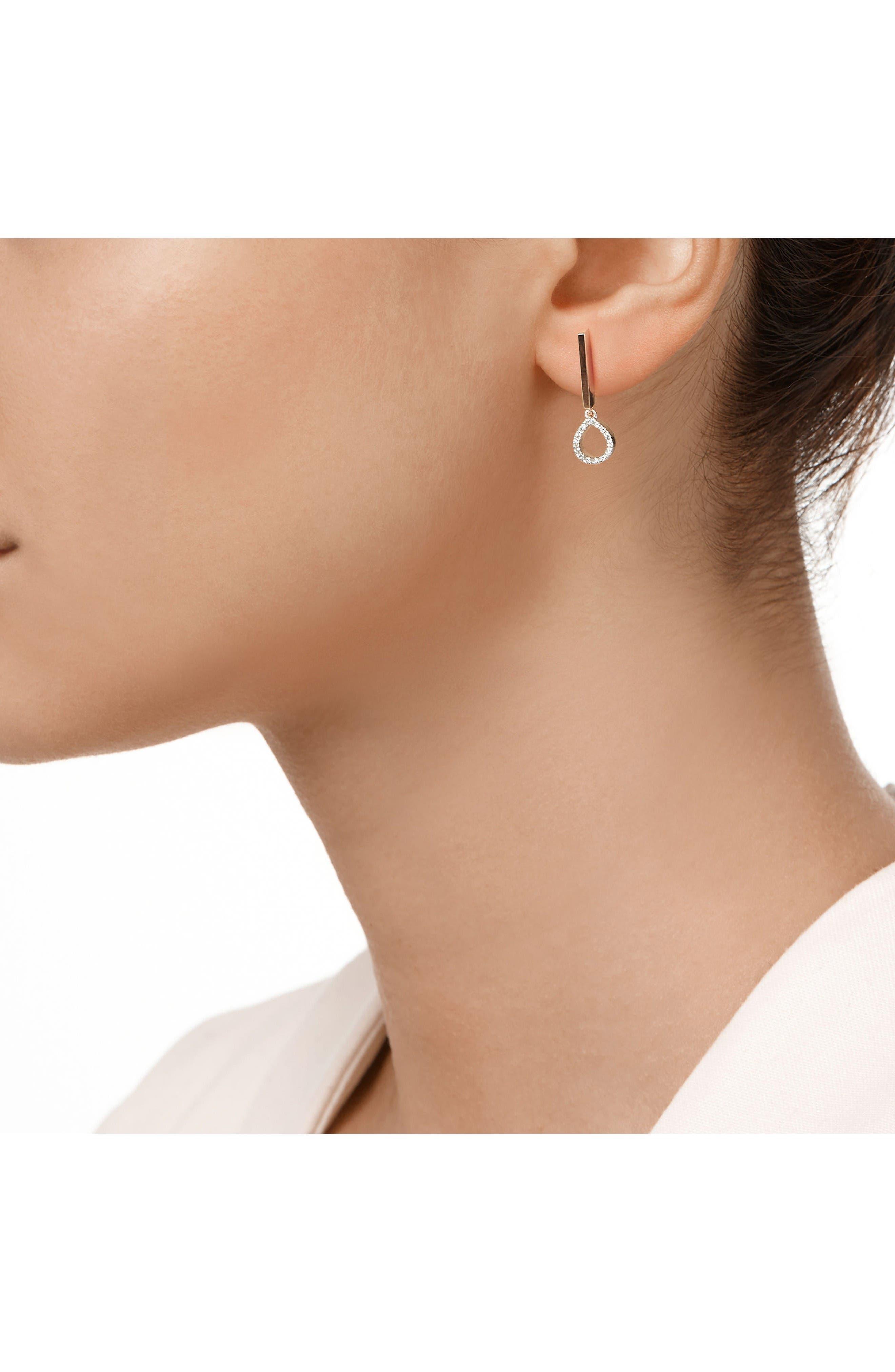 Naida Diamond Mini Lotus Drop Earrings,                             Alternate thumbnail 2, color,                             Rose Gold/ Diamond