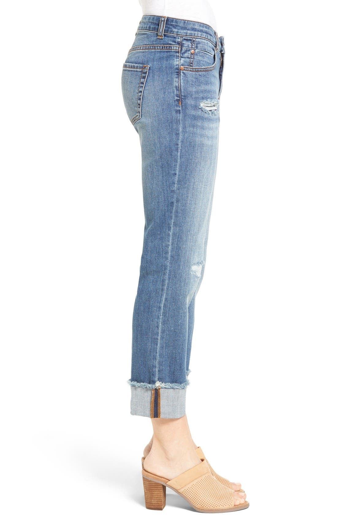 Alternate Image 4  - Caslon® Distressed Roll Cuff Crop Jeans (Regular & Petite) (Blue Sandwash)
