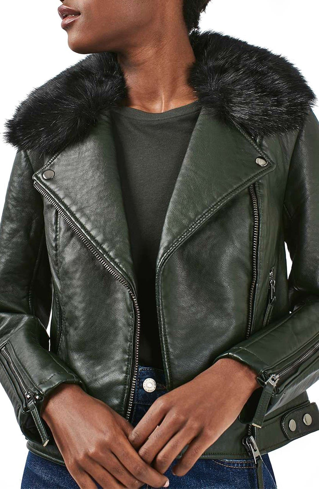 Main Image - Topshop 'Honey' Faux Fur Collar Faux Leather Moto Jacket
