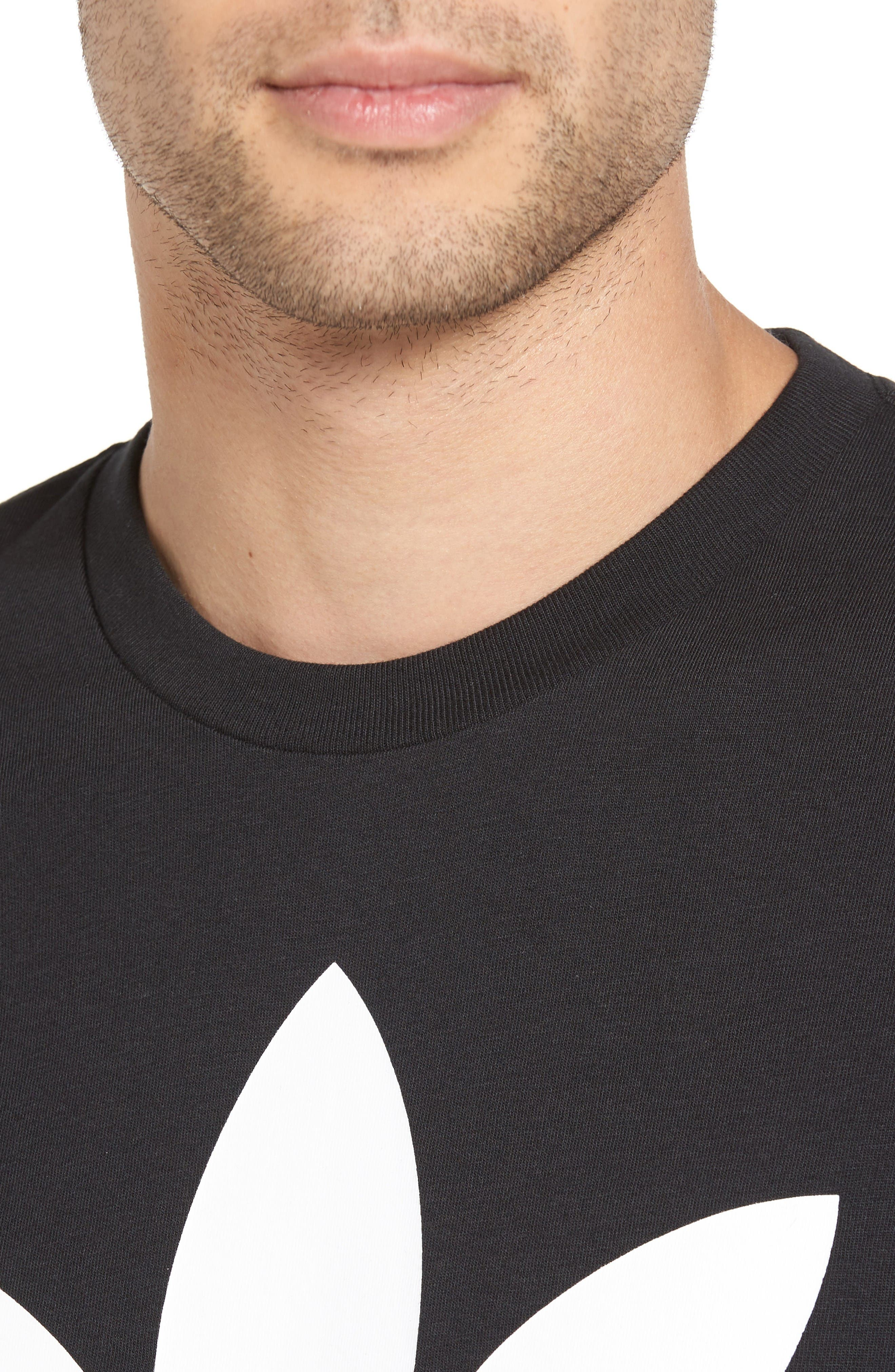 Trefoil Graphic T-Shirt,                             Alternate thumbnail 4, color,                             Black