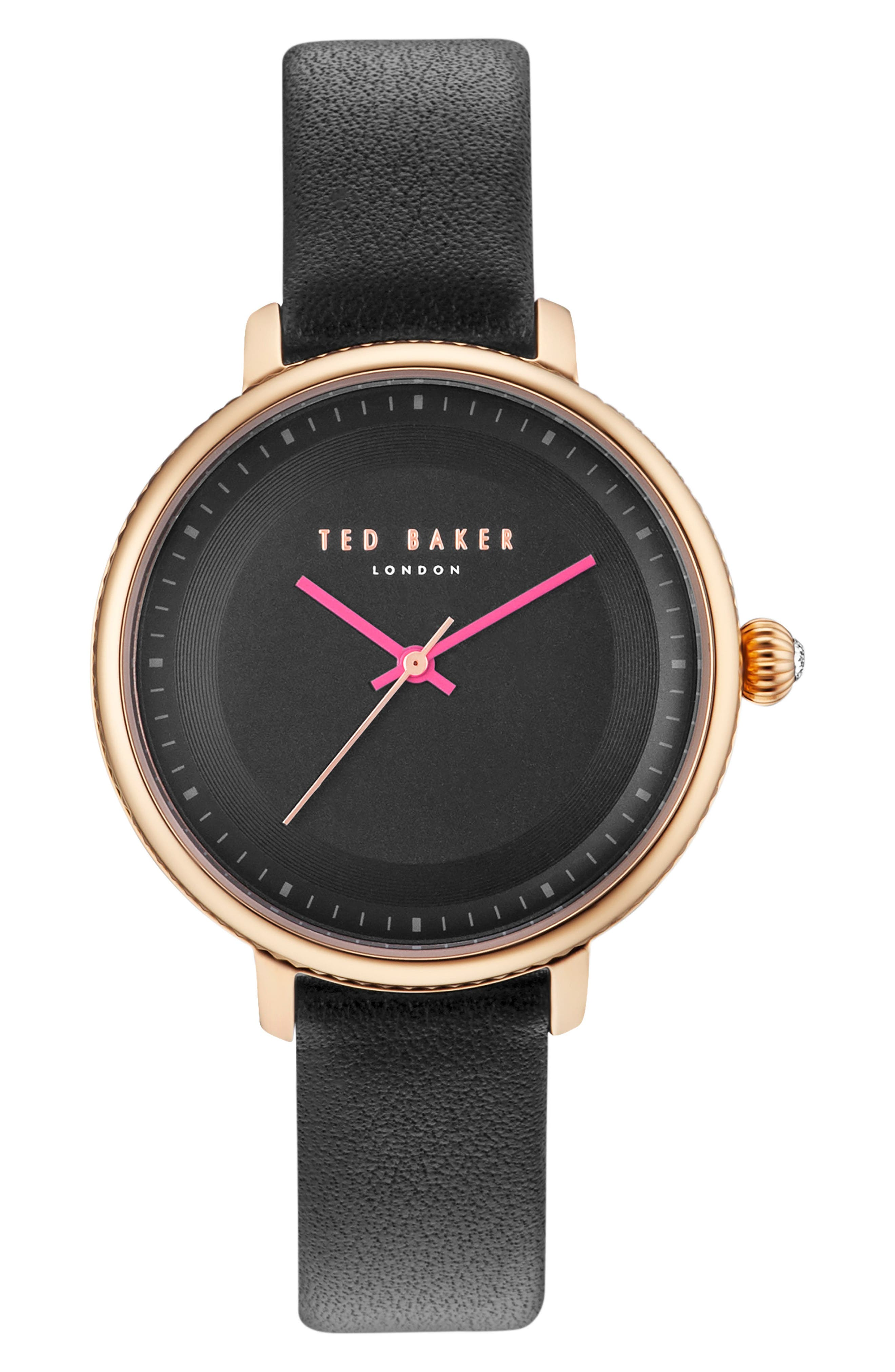 Isla Round Leather Strap Watch, 36mm,                         Main,                         color, Black/ Rose Gold