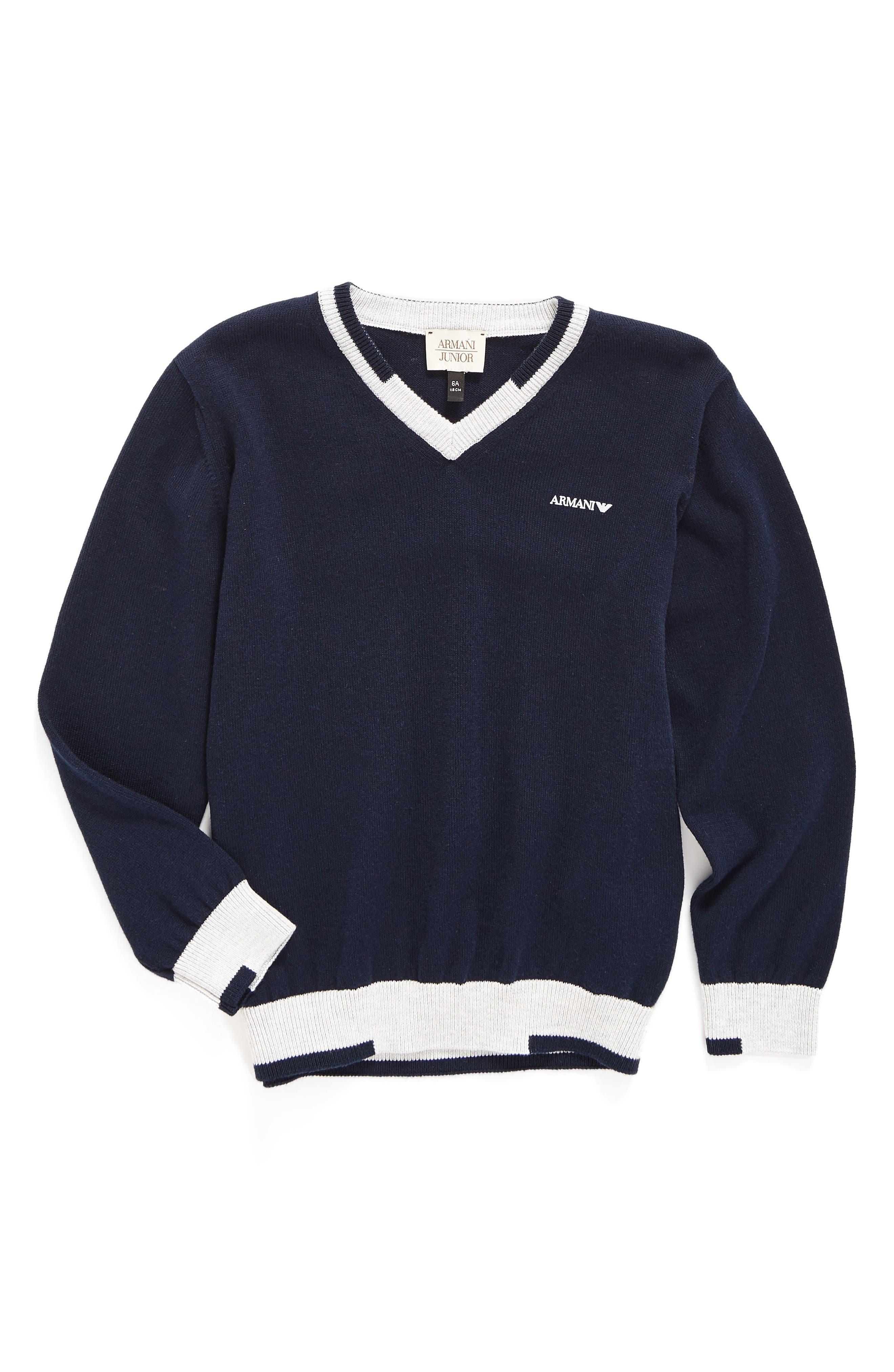 V-Neck Sweater,                             Main thumbnail 1, color,                             Solid Medium Blue