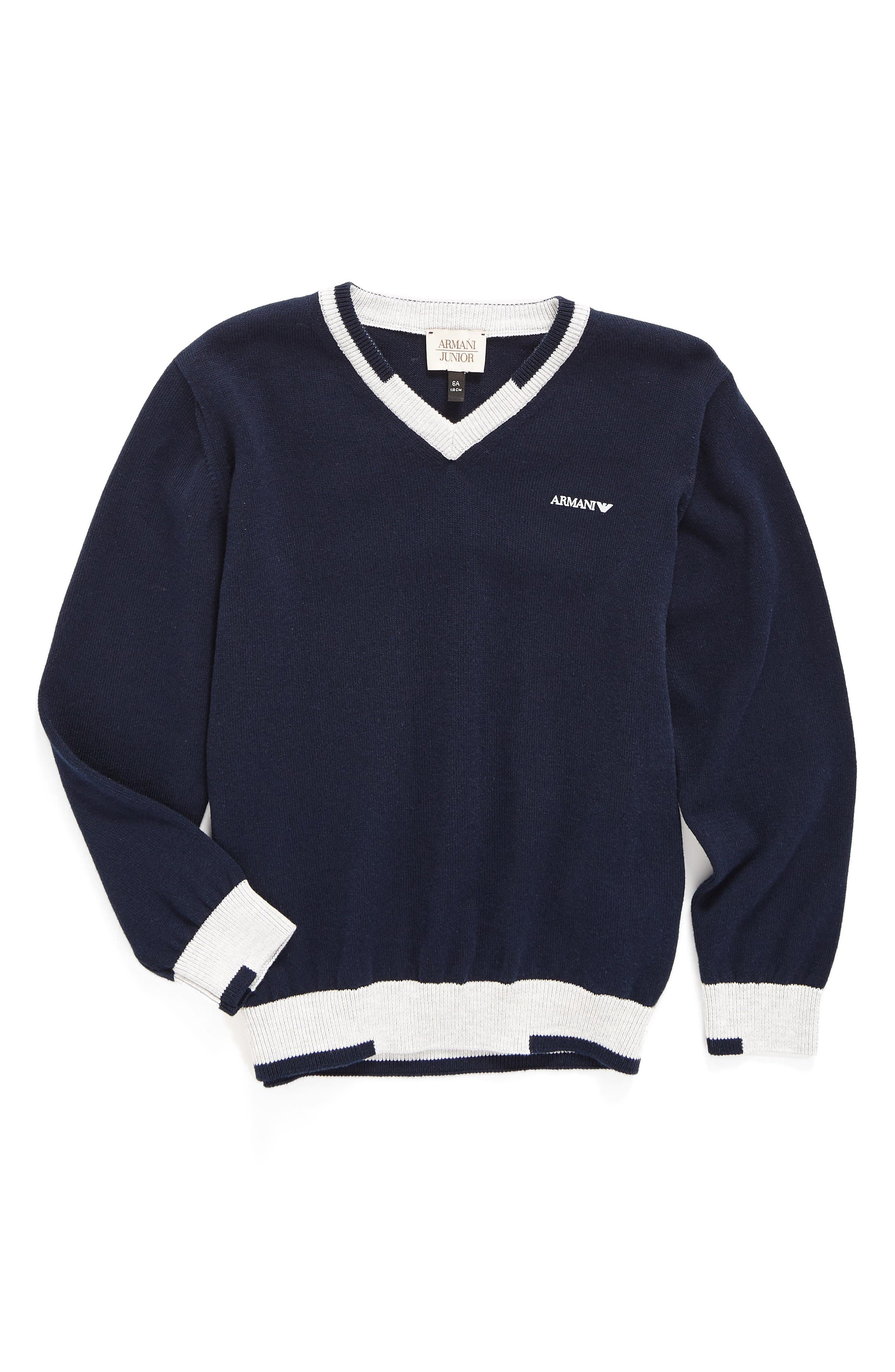 V-Neck Sweater,                         Main,                         color, Solid Medium Blue