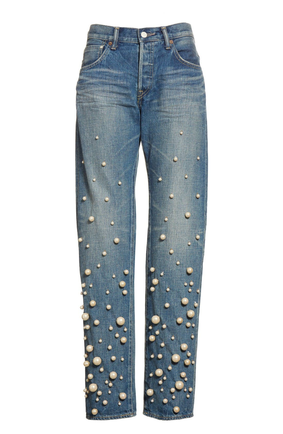 Snow Imitation Pearl Embellished Jeans,                             Alternate thumbnail 4, color,                             Pearl