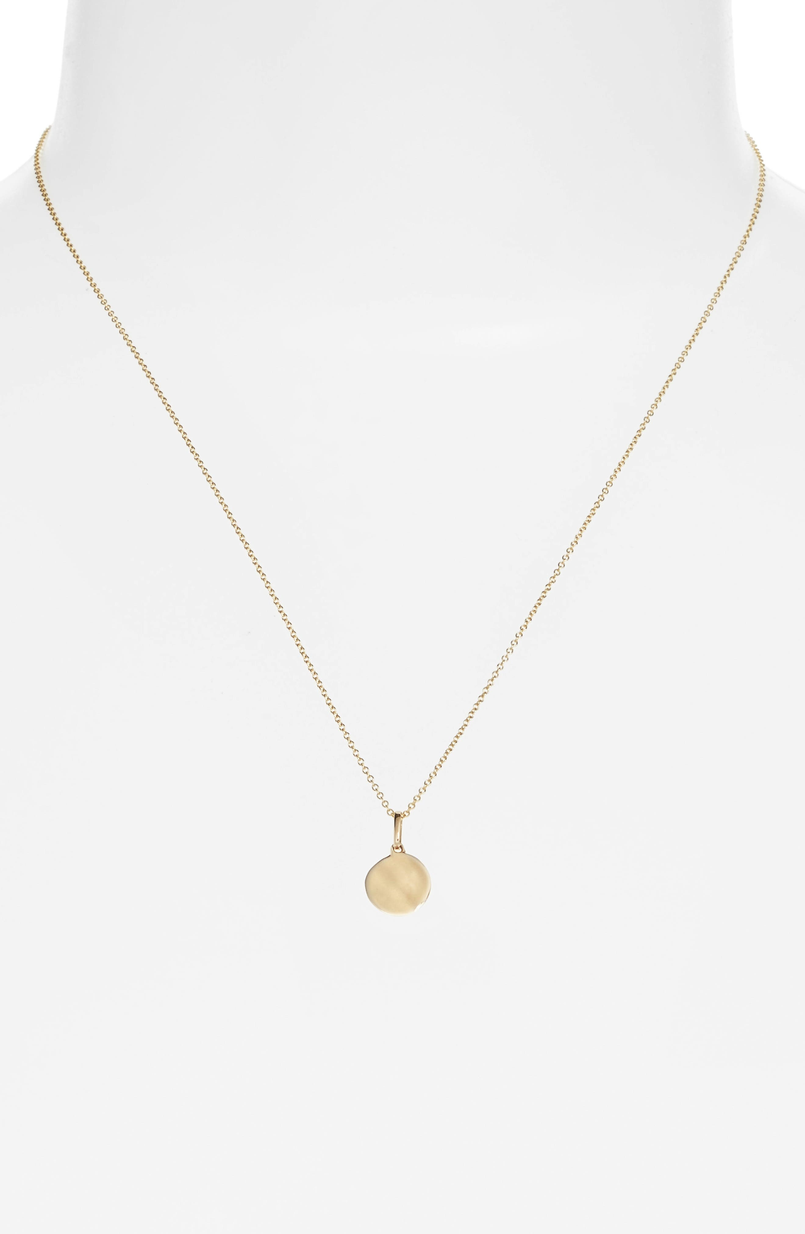 Small Concave Pendant Necklace,                         Main,                         color, Yellow Gold