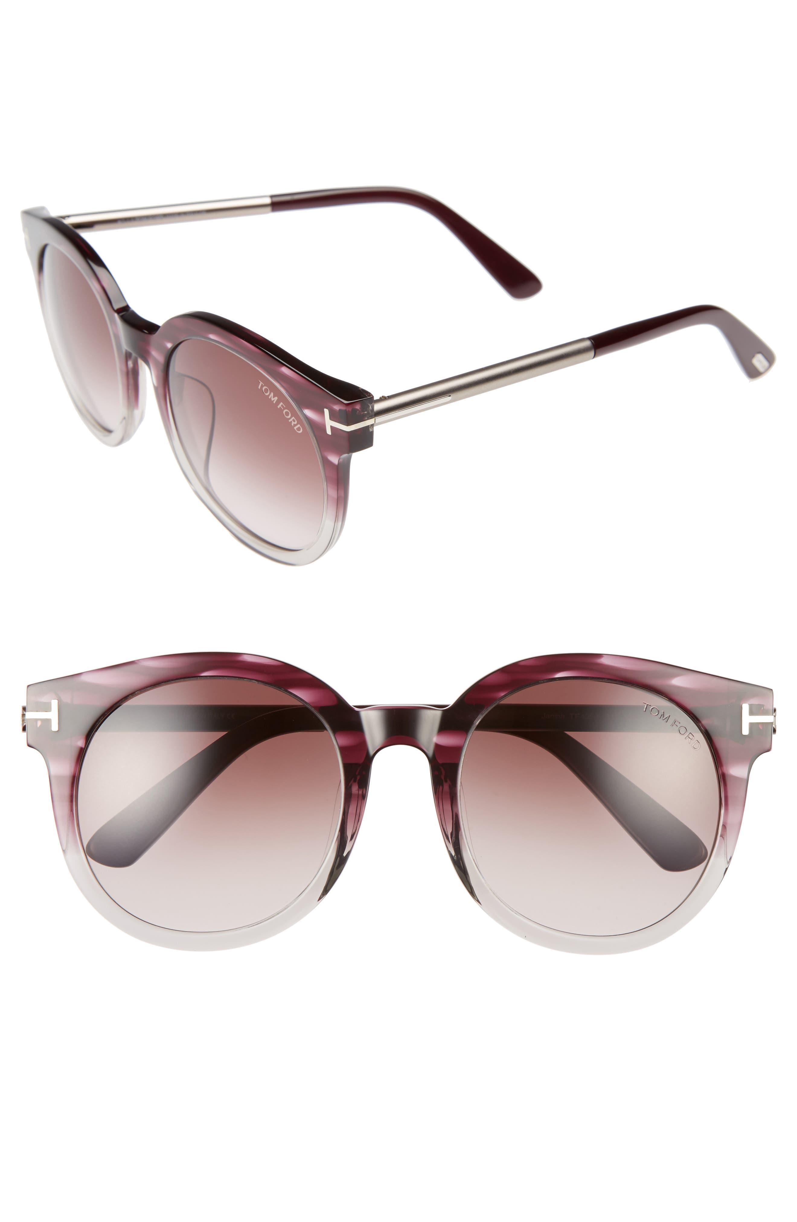 Janina 53mm Special Fit Round Sunglasses,                         Main,                         color, Violet/ Gradient Bordeaux