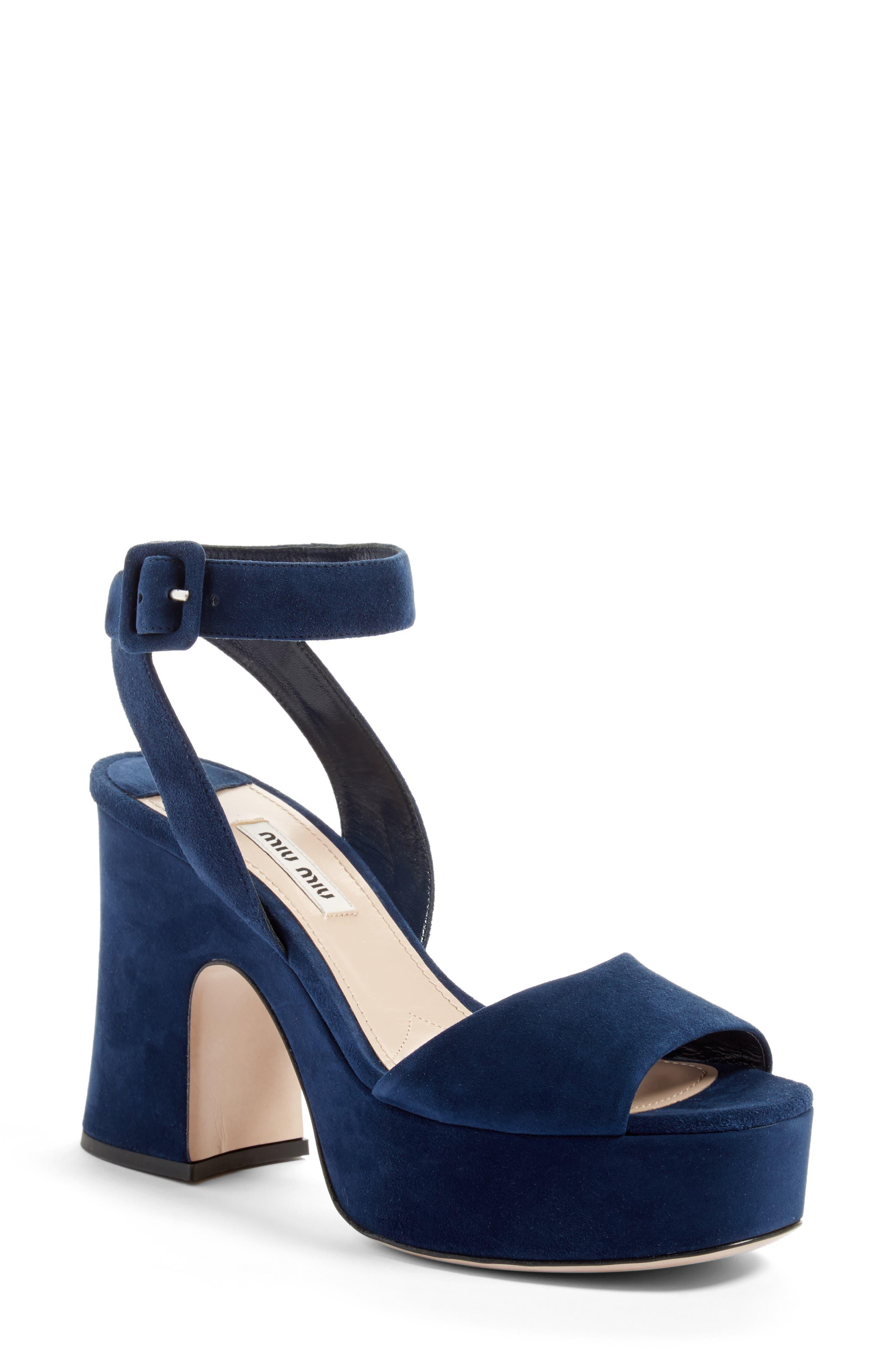 Alternate Image 1 Selected - Miu Miu Platform Strap Sandal (Women)