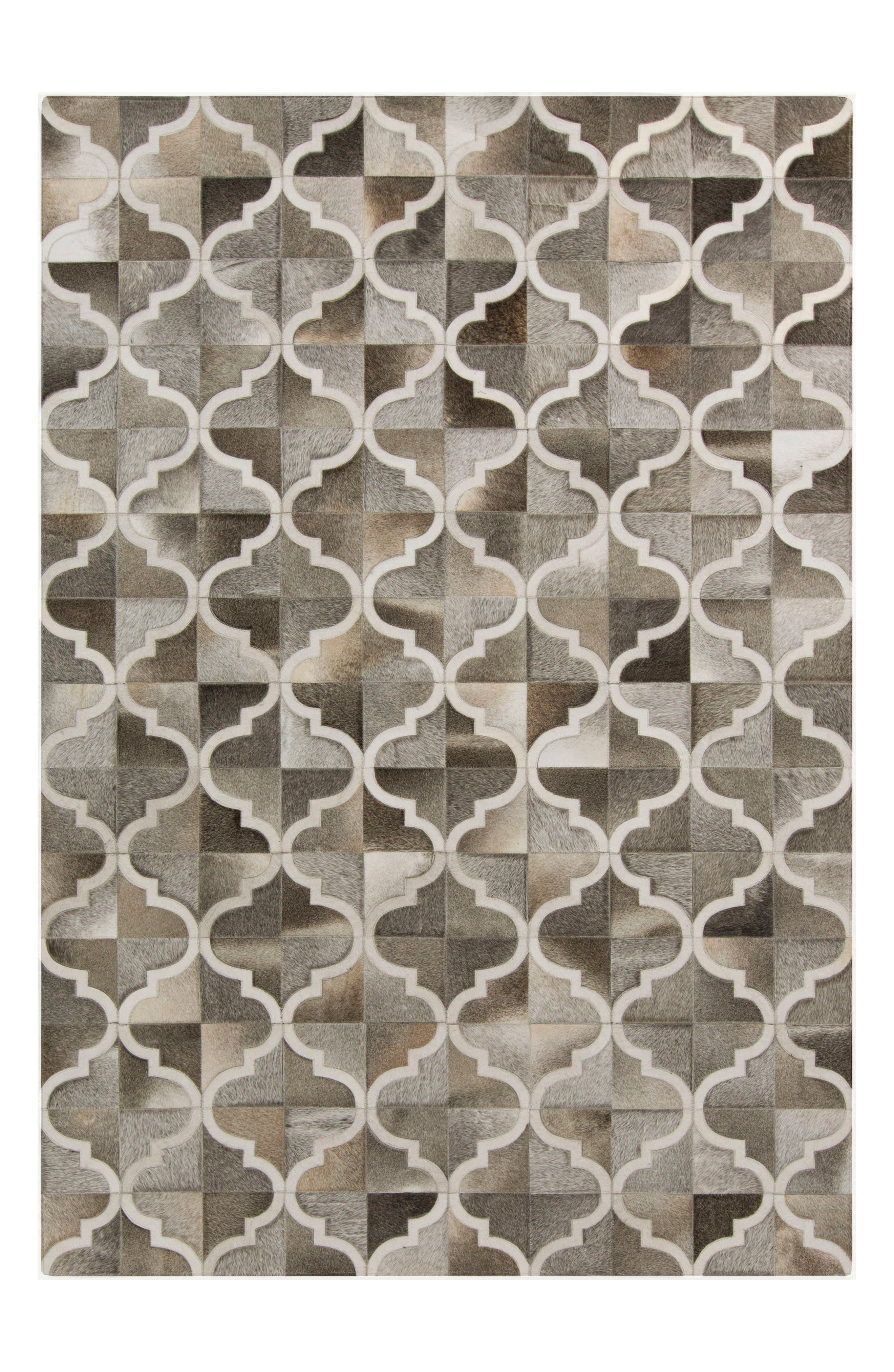 Outback Diamond Hand Stitched Calf Hair Rug,                         Main,                         color, Taupe