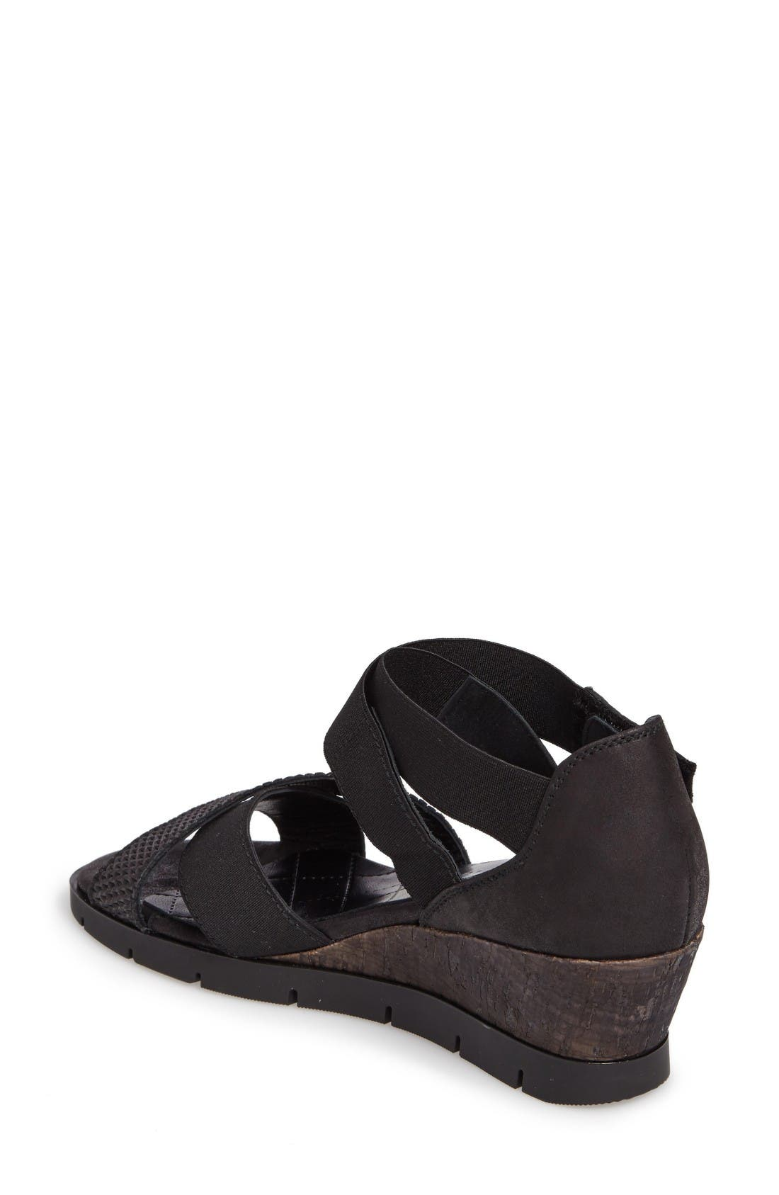 Crisscross Muriel Wedge,                             Alternate thumbnail 2, color,                             Luxor Black Fabric