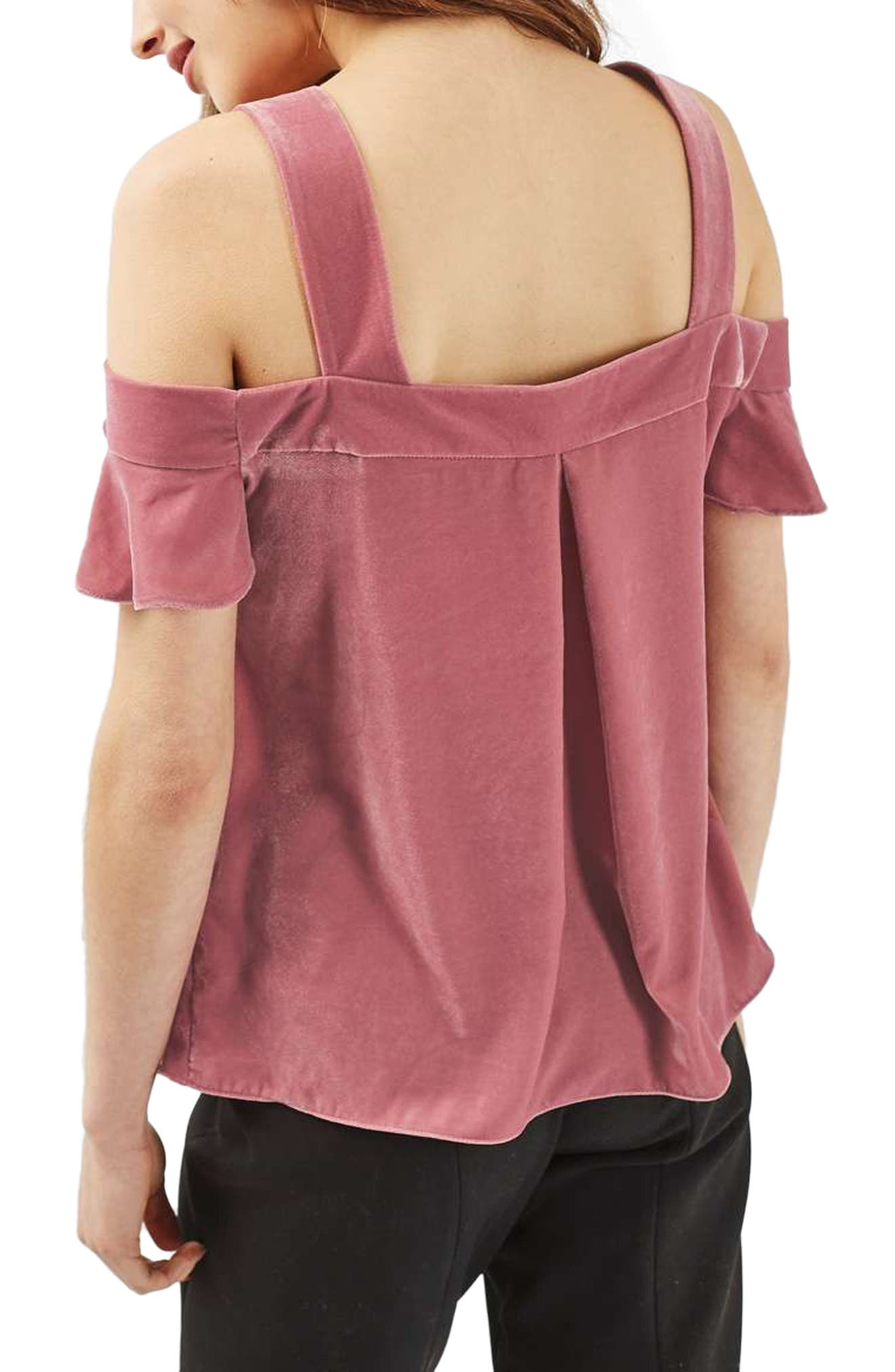 Alternate Image 3  - Topshop Polly Bardot Velvet Top (Regular & Petite)