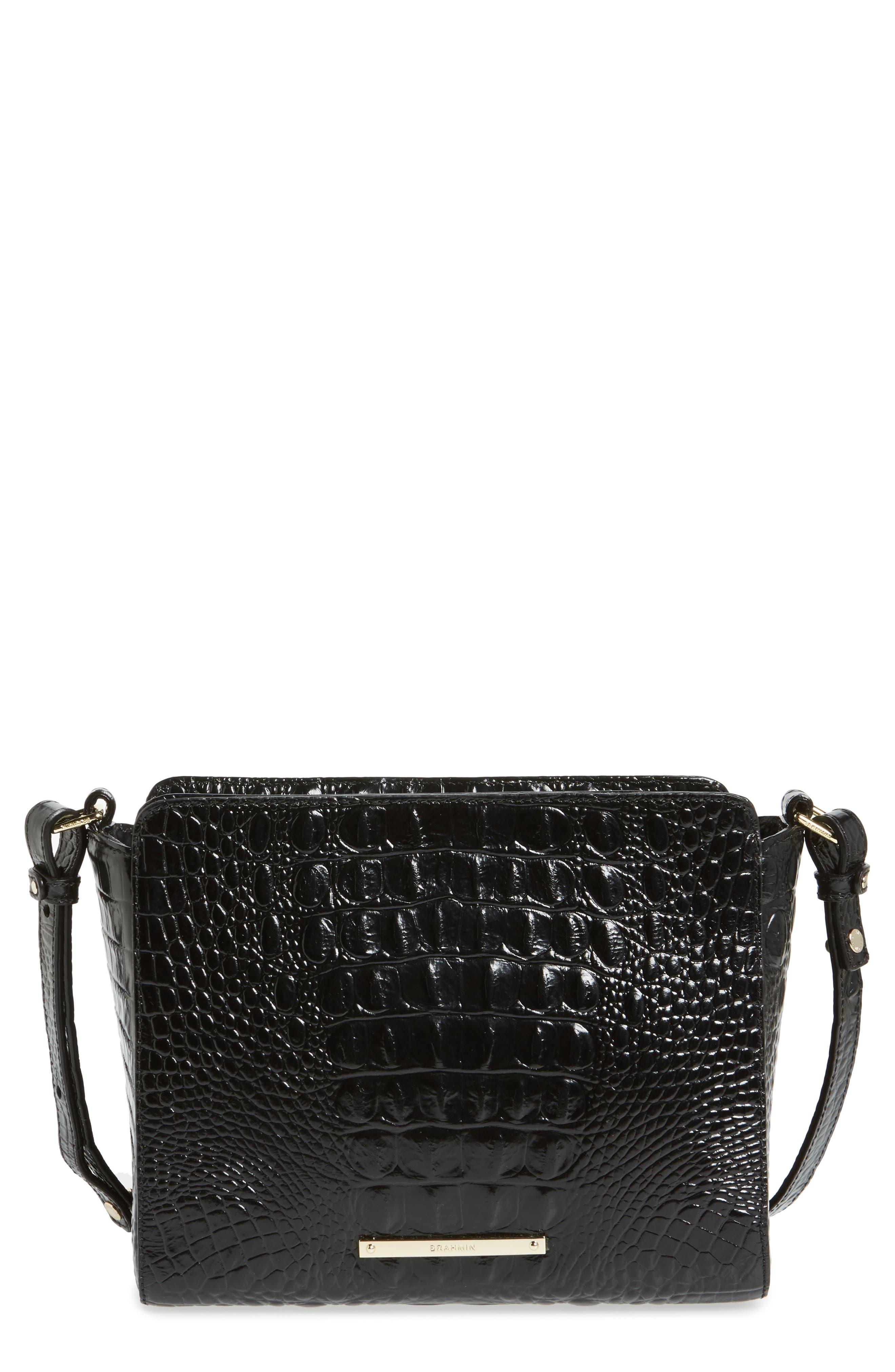 Melbourne Carrie Leather Crossbody Bag,                             Main thumbnail 1, color,                             Black