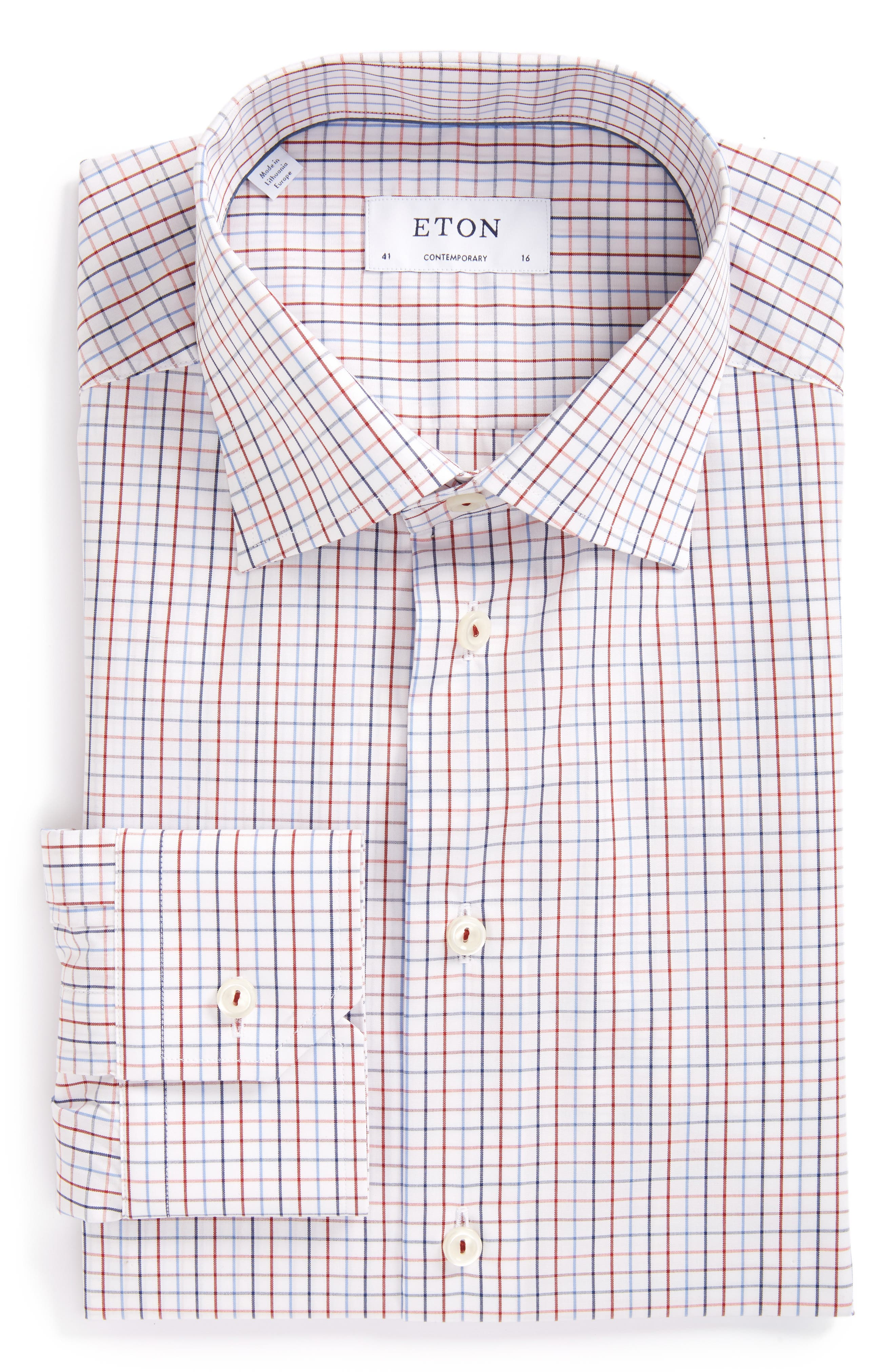 Contemporary Fit Plaid Dress Shirt,                             Main thumbnail 1, color,                             Pink/Red