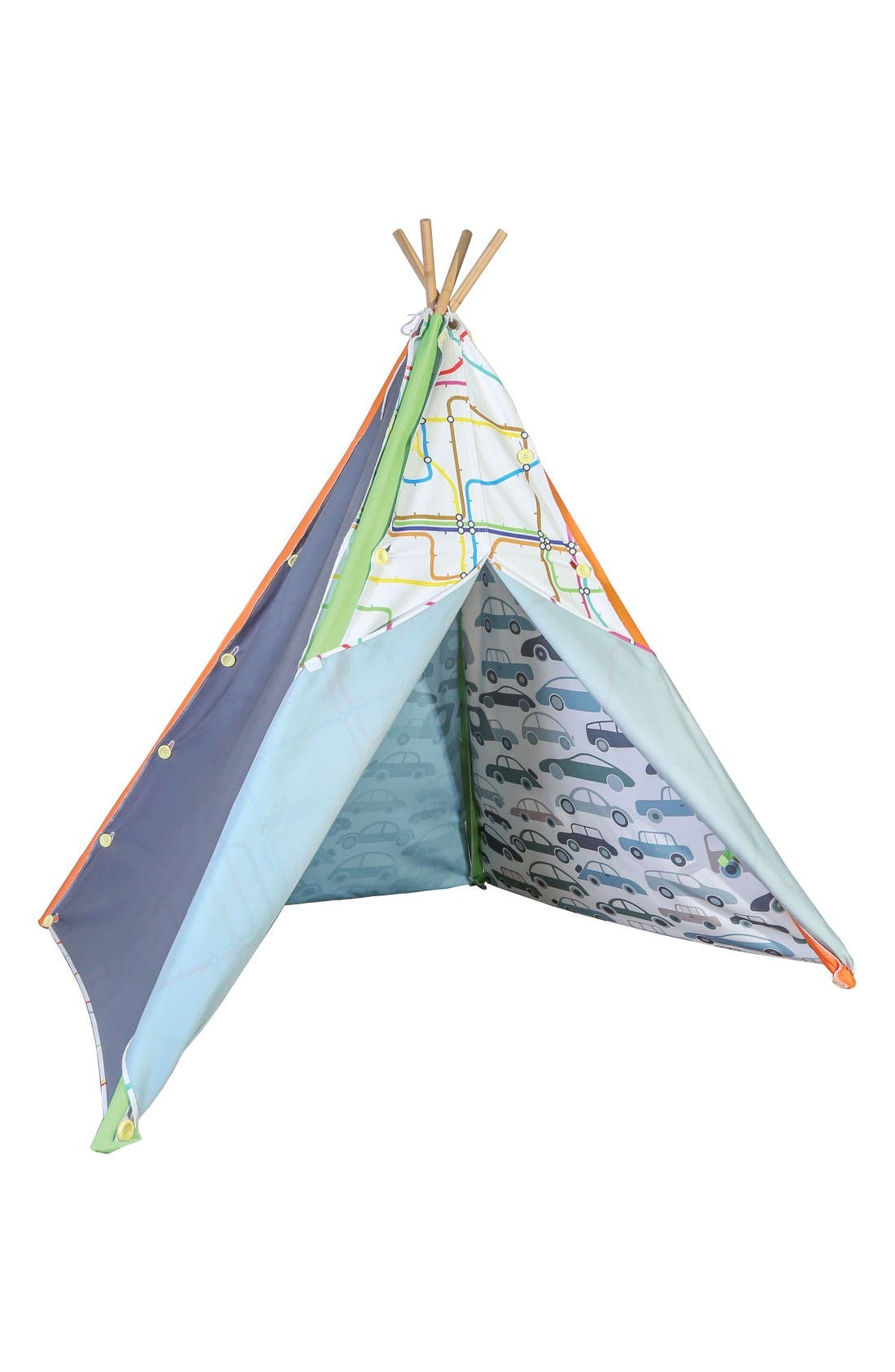 Traffic Jam Interchangeable Teepee Play Tent,                             Main thumbnail 1, color,                             Blue