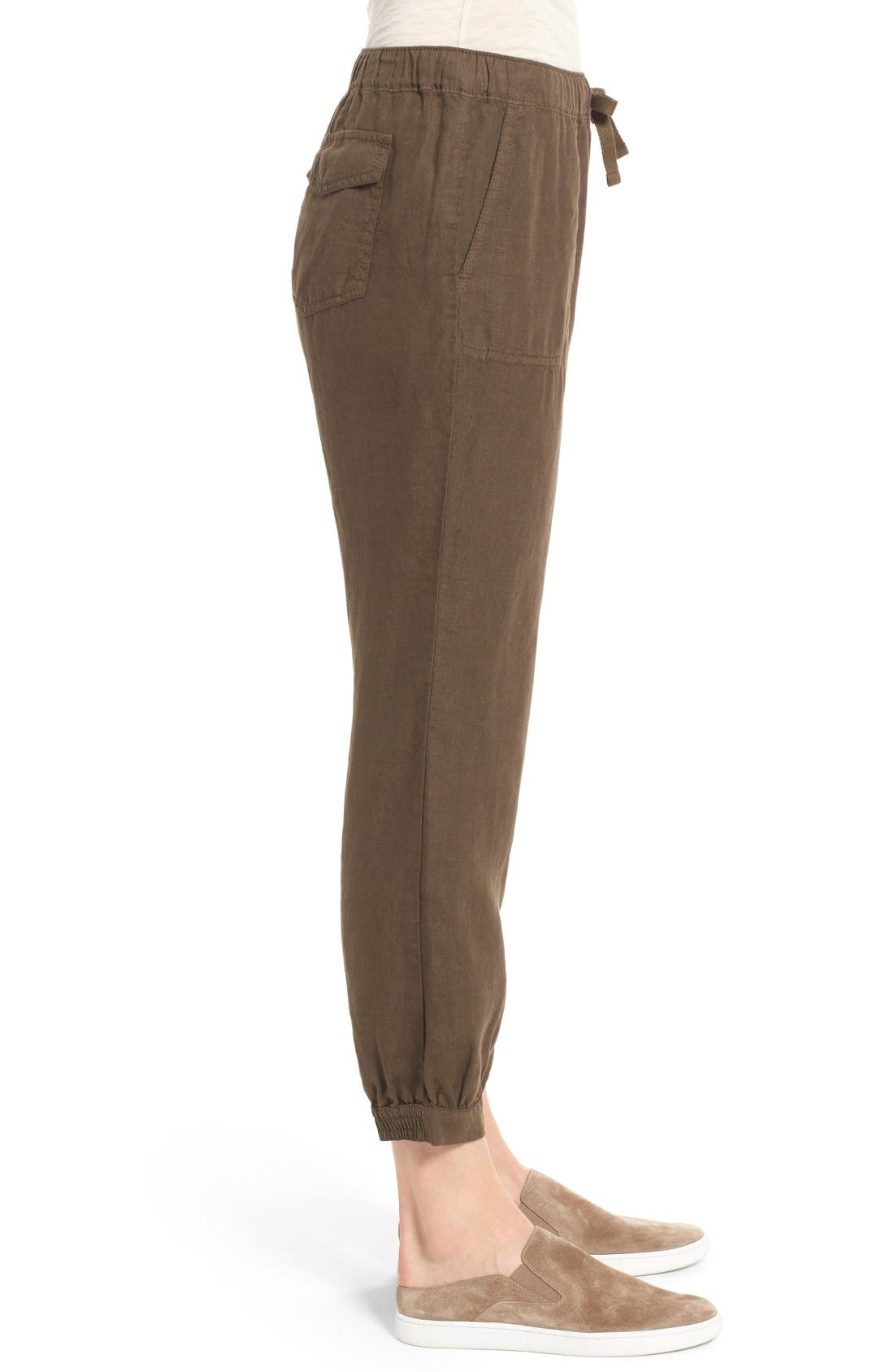 Crop Linen Joggers,                             Alternate thumbnail 4, color,                             Olive Tuscan