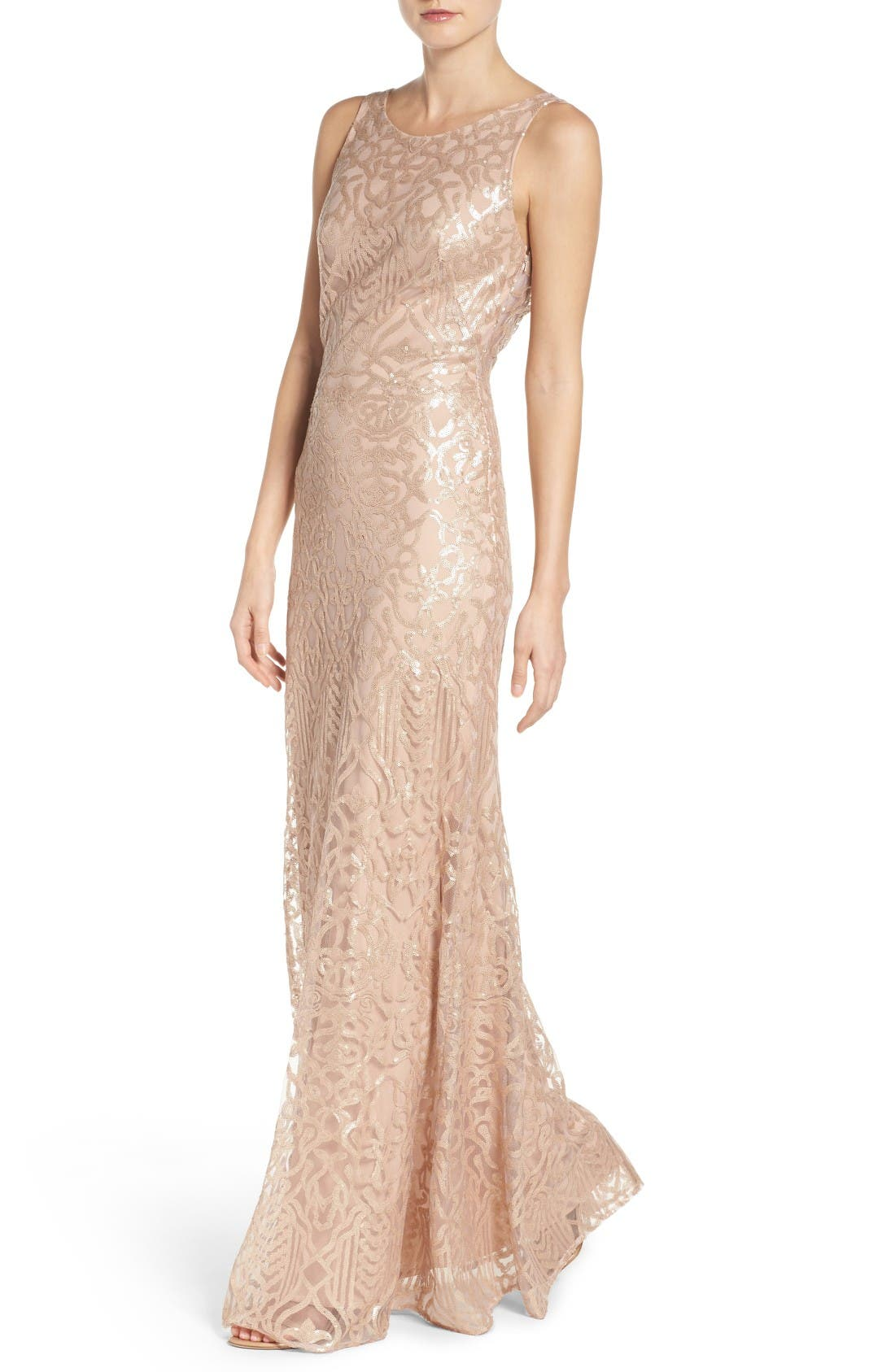 Sequin Embroidered Cowl Back A-Line Gown,                             Alternate thumbnail 4, color,                             Latte