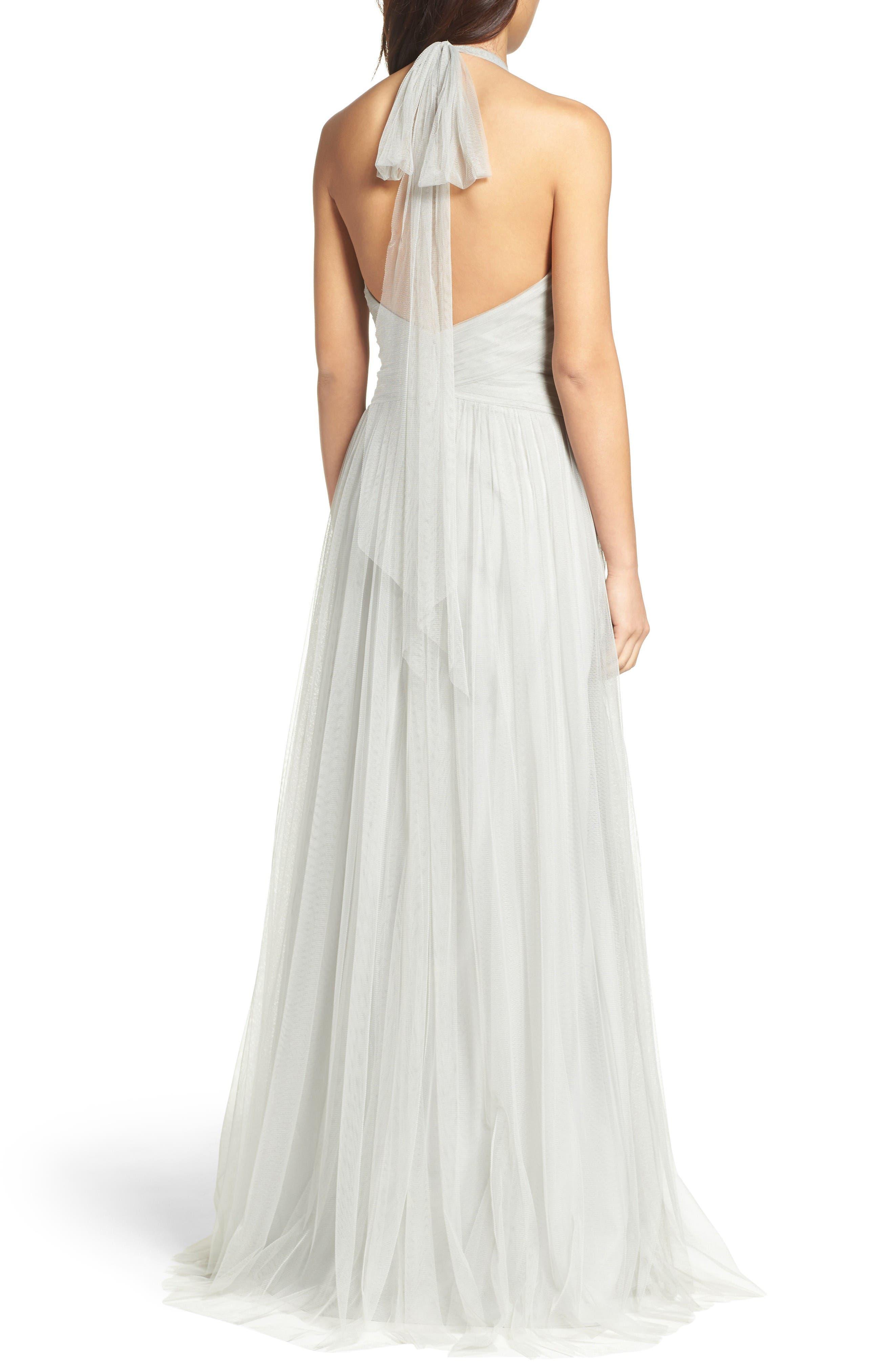Halter Tulle A-Line Gown,                             Alternate thumbnail 2, color,                             Eucalyptus