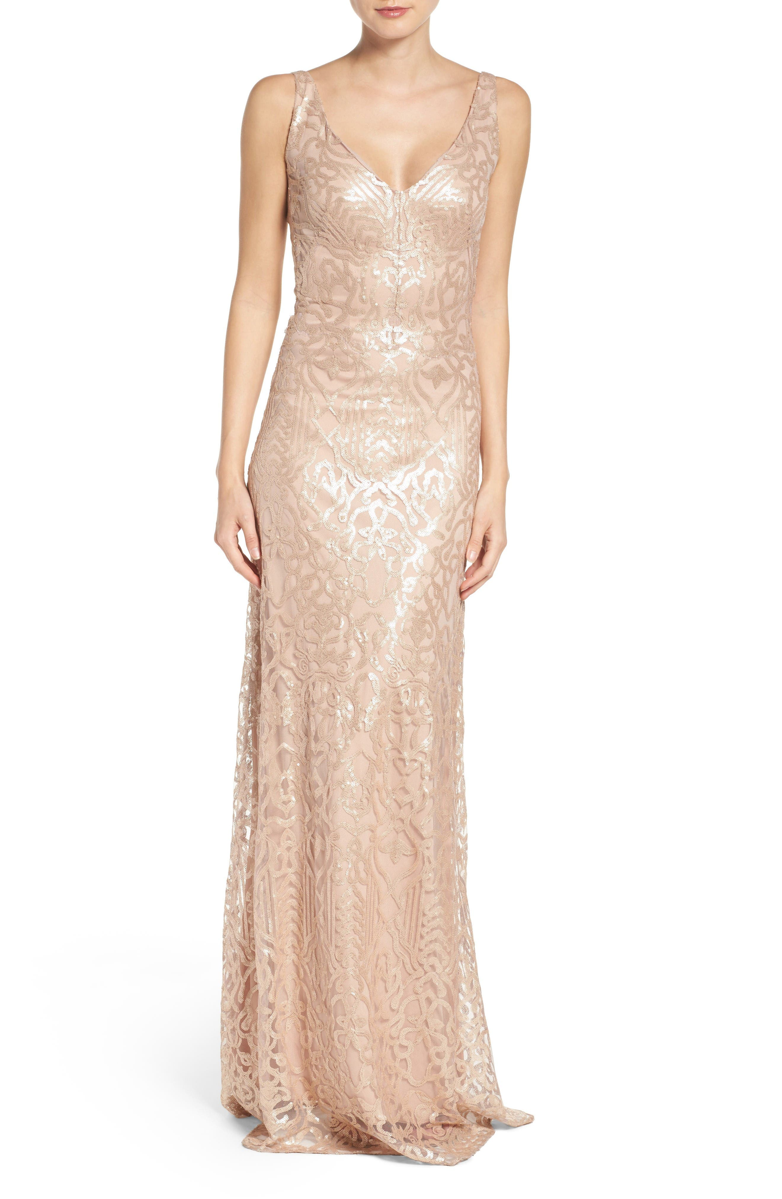 Sequin Embroidered A-Line Gown,                         Main,                         color, Latte