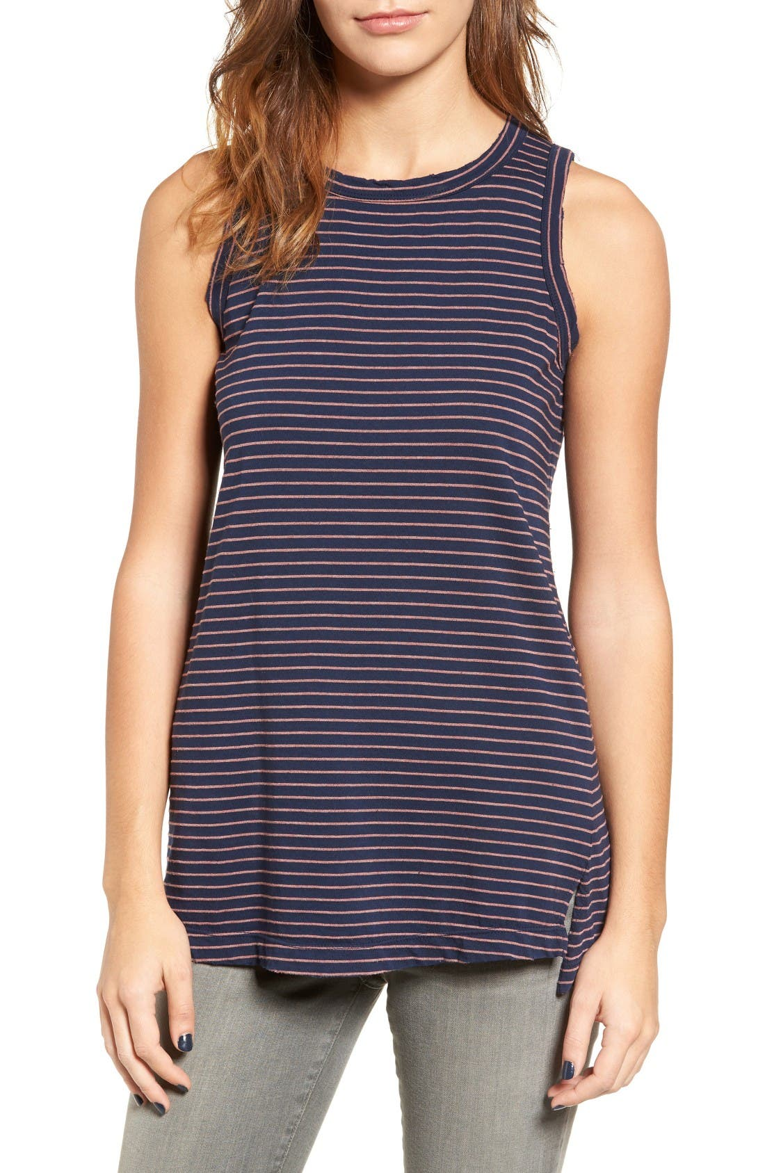 The Muscle Tee Stripe Tank,                             Main thumbnail 1, color,                             Navy Sonic Stripe