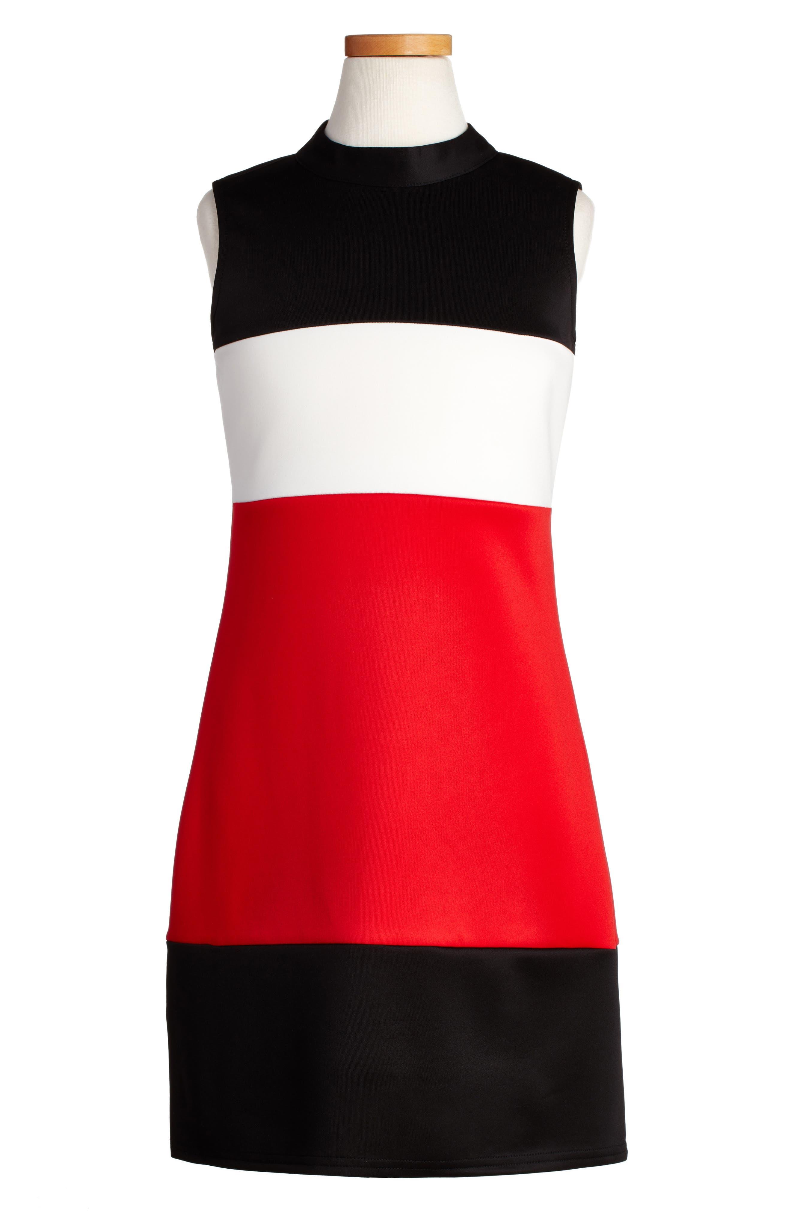 Mock Neck Dress,                         Main,                         color, Black