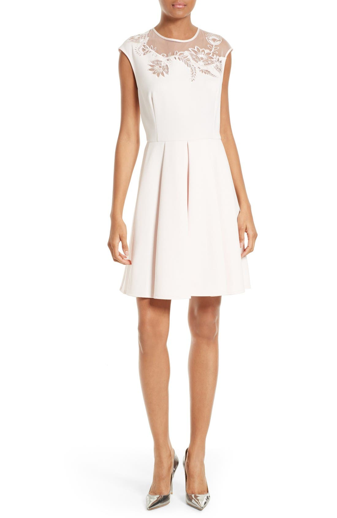 Main Image - Ted Baker London Dollii Embroidered Illusion Fit & Flare Dress