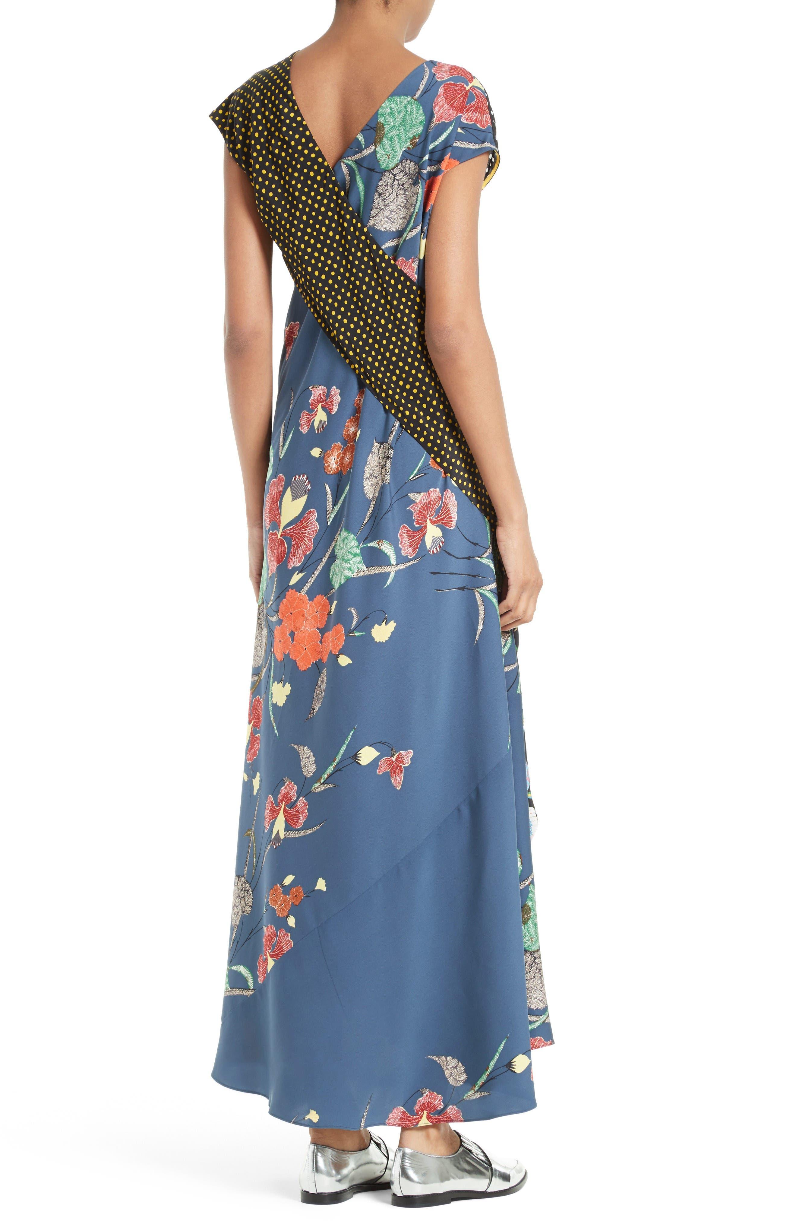 Faux Wrap Silk Maxi Dress,                             Alternate thumbnail 2, color,                             Ferma Blue