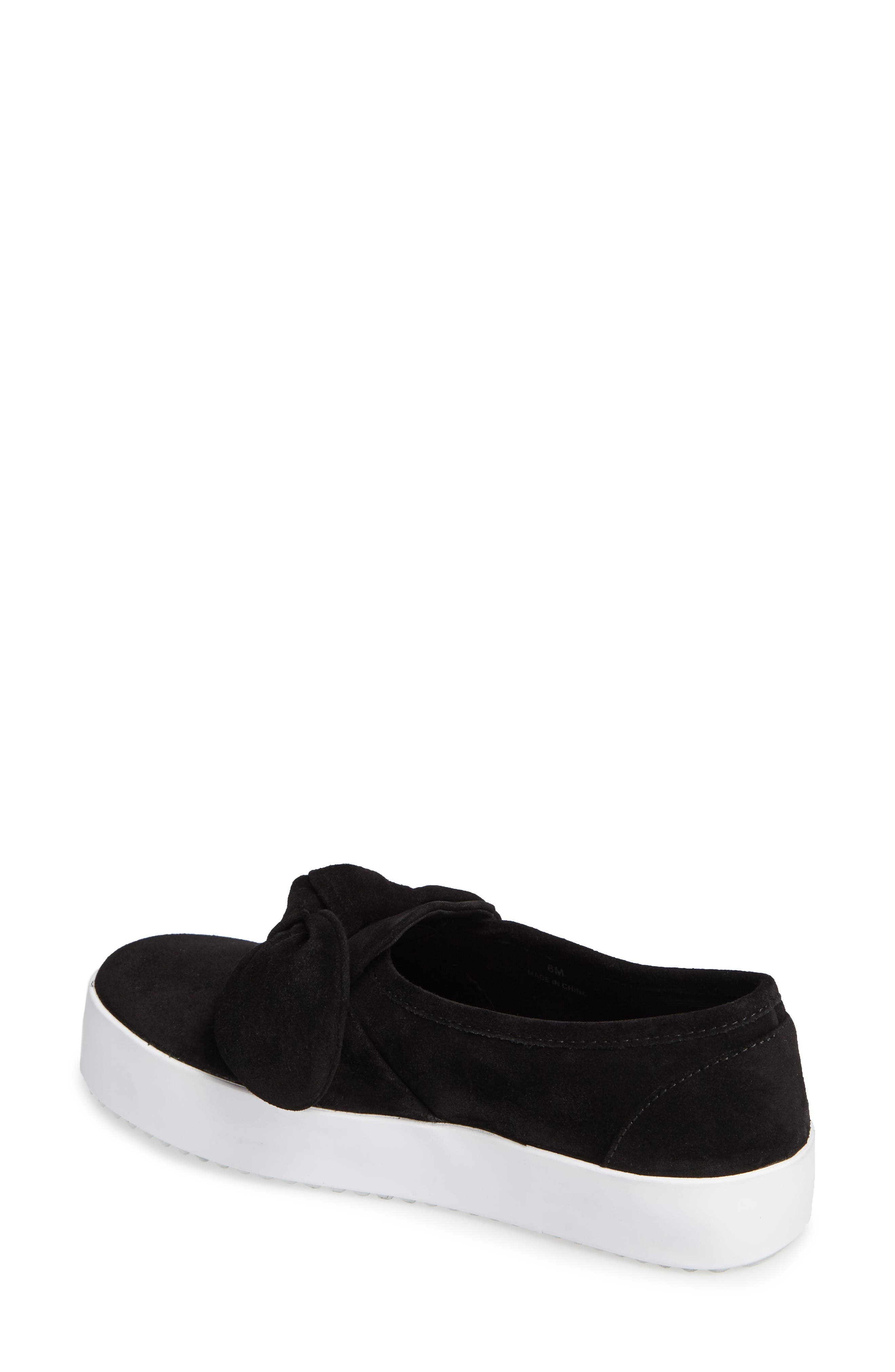 Stacey Bow Platform Sneaker,                             Alternate thumbnail 2, color,                             Black Oiled Suede