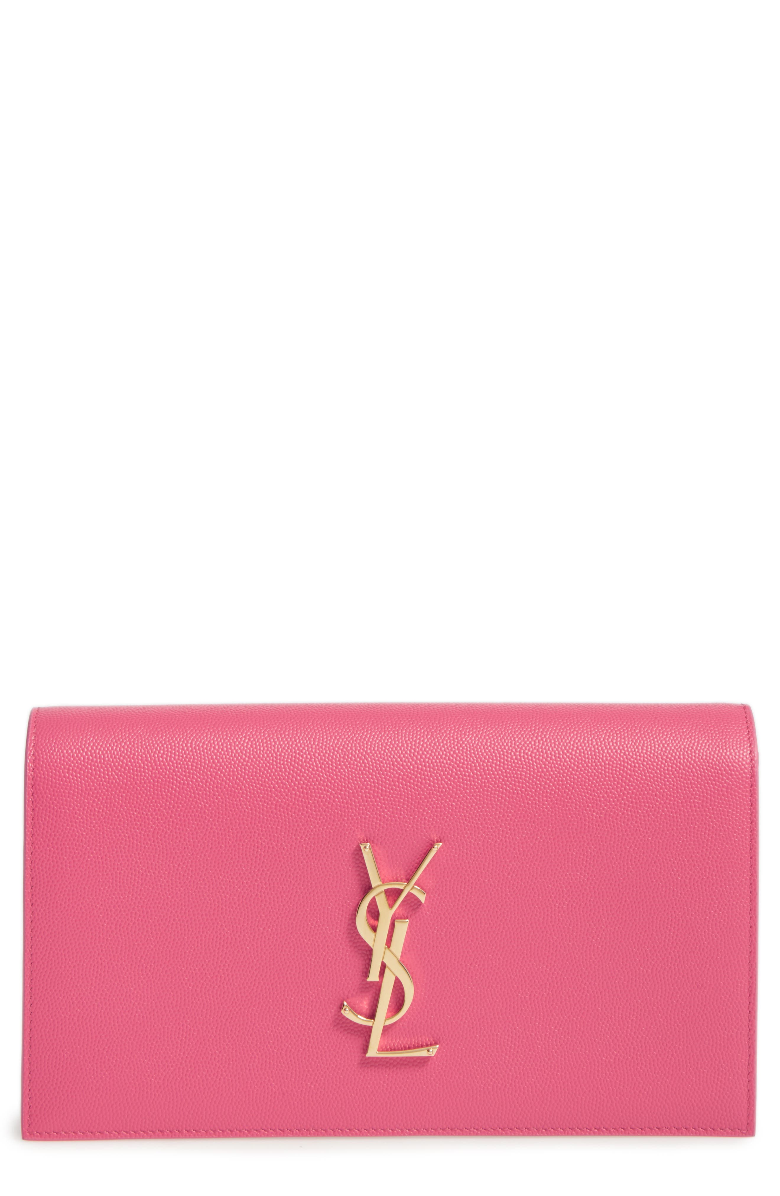 'MONOGRAM' LEATHER CLUTCH - PINK
