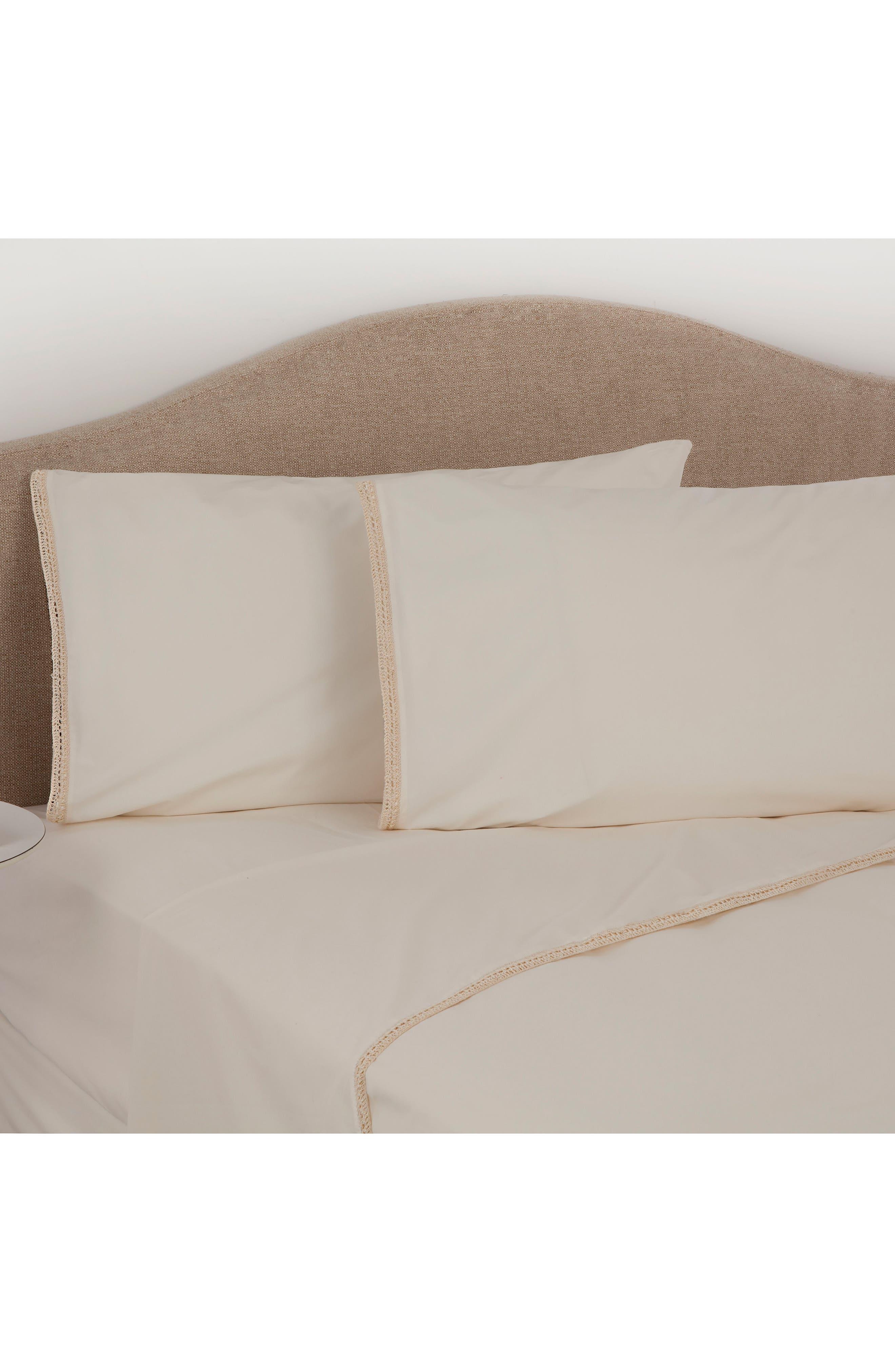 Crochet Trim Organic Cotton Flat Sheet,                         Main,                         color, Soft Cream
