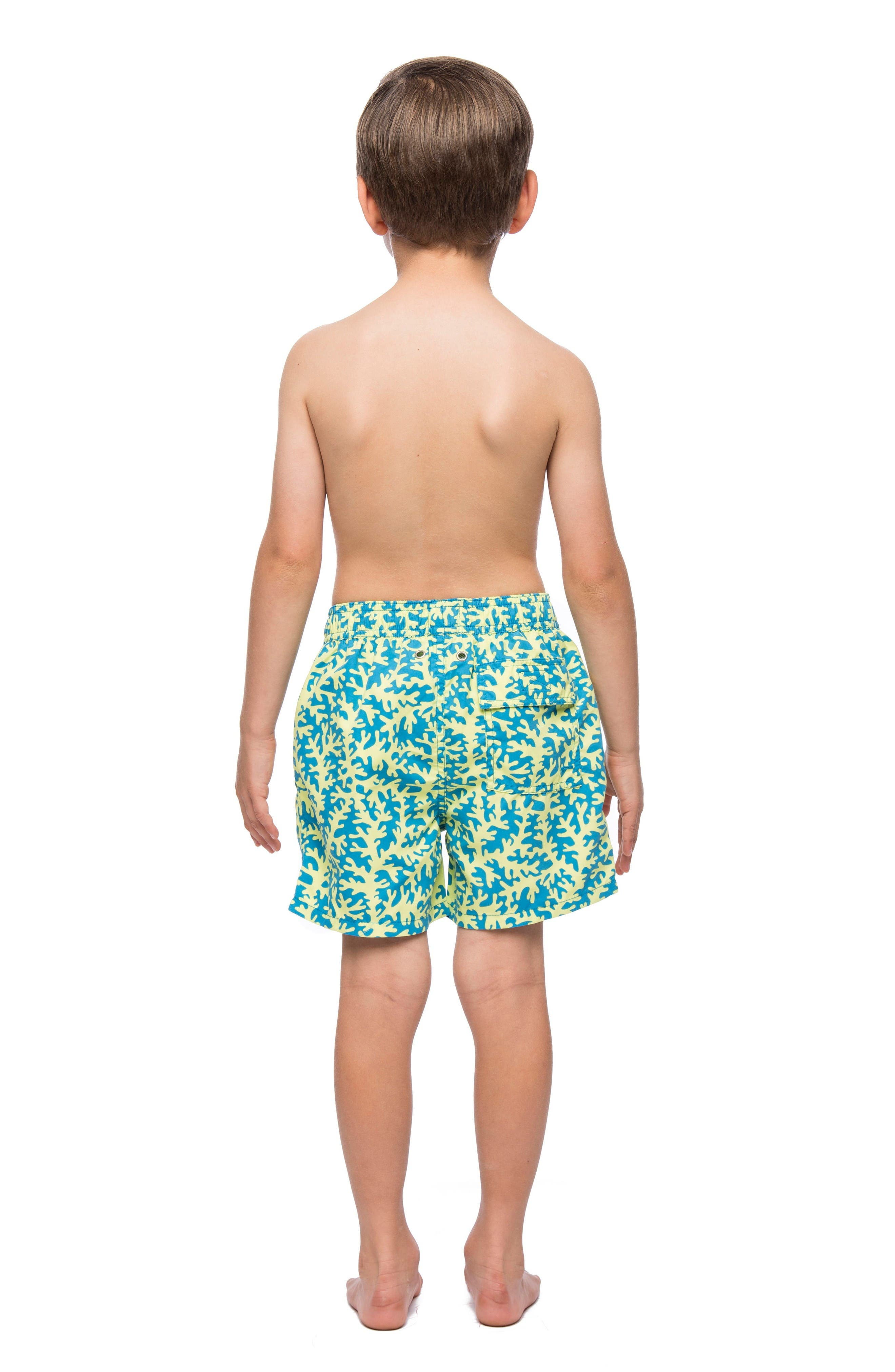 Coral Swim Trunks,                             Alternate thumbnail 3, color,                             Blue/ Lime