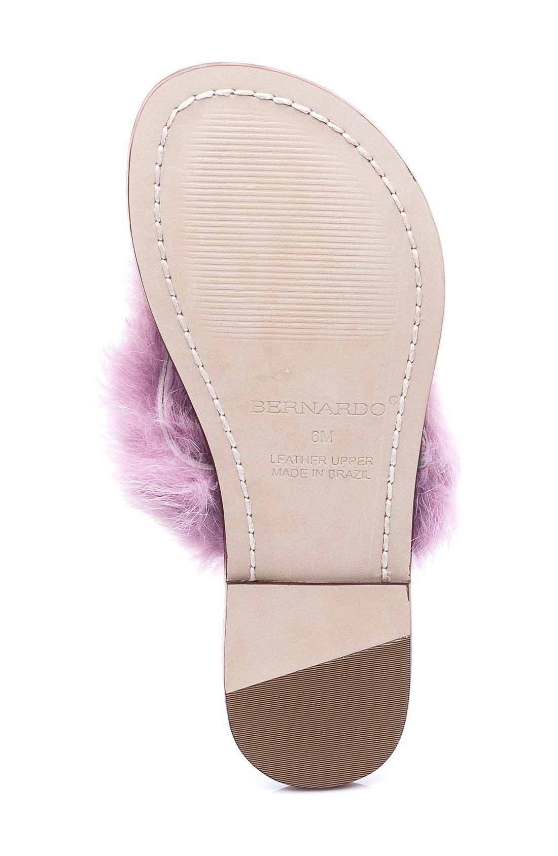 Genuine Rabbit Fur Flip Flop,                             Alternate thumbnail 4, color,                             Light Pink Fur
