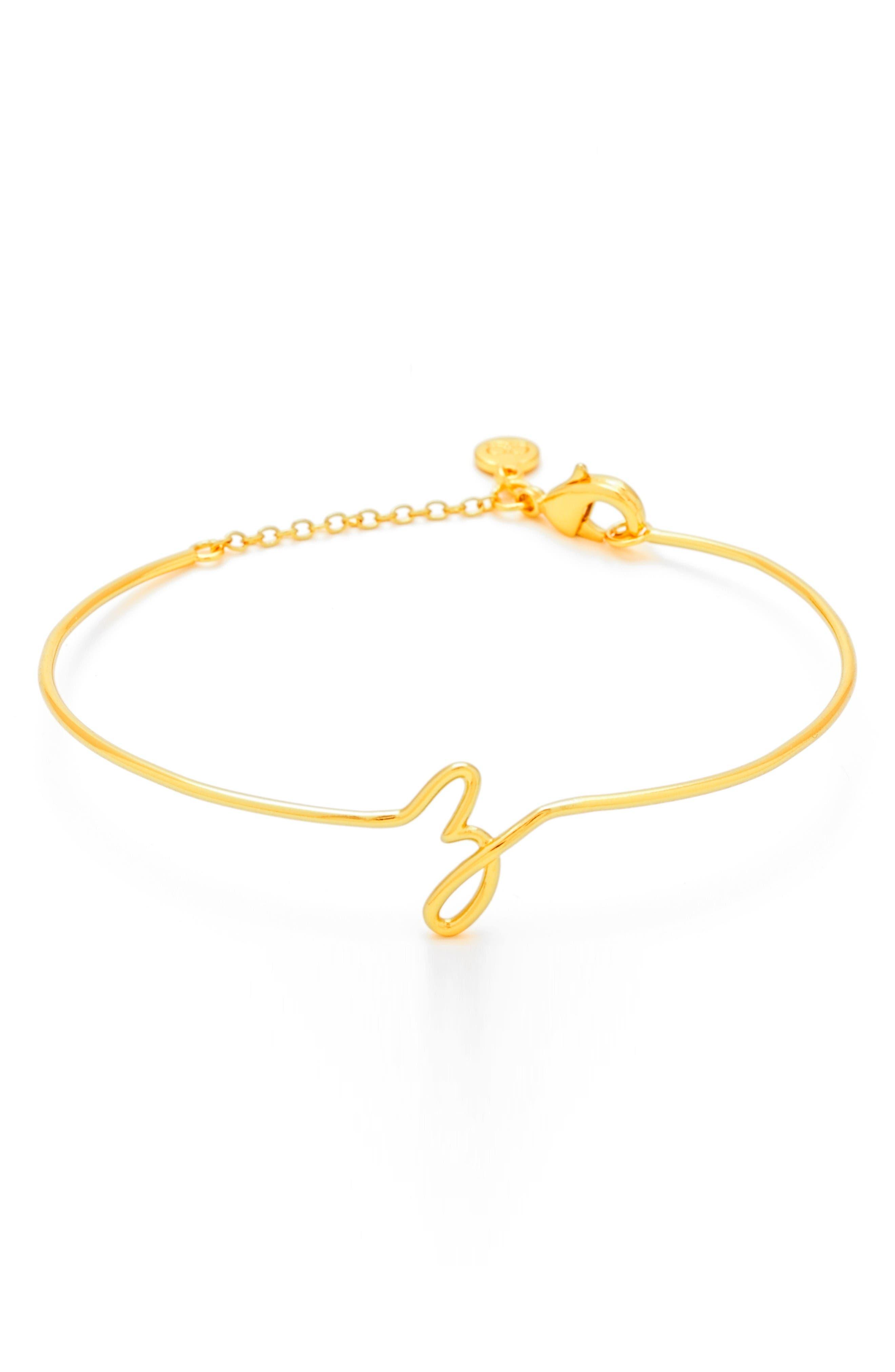 Alphabet Bracelet,                         Main,                         color, Gold Z