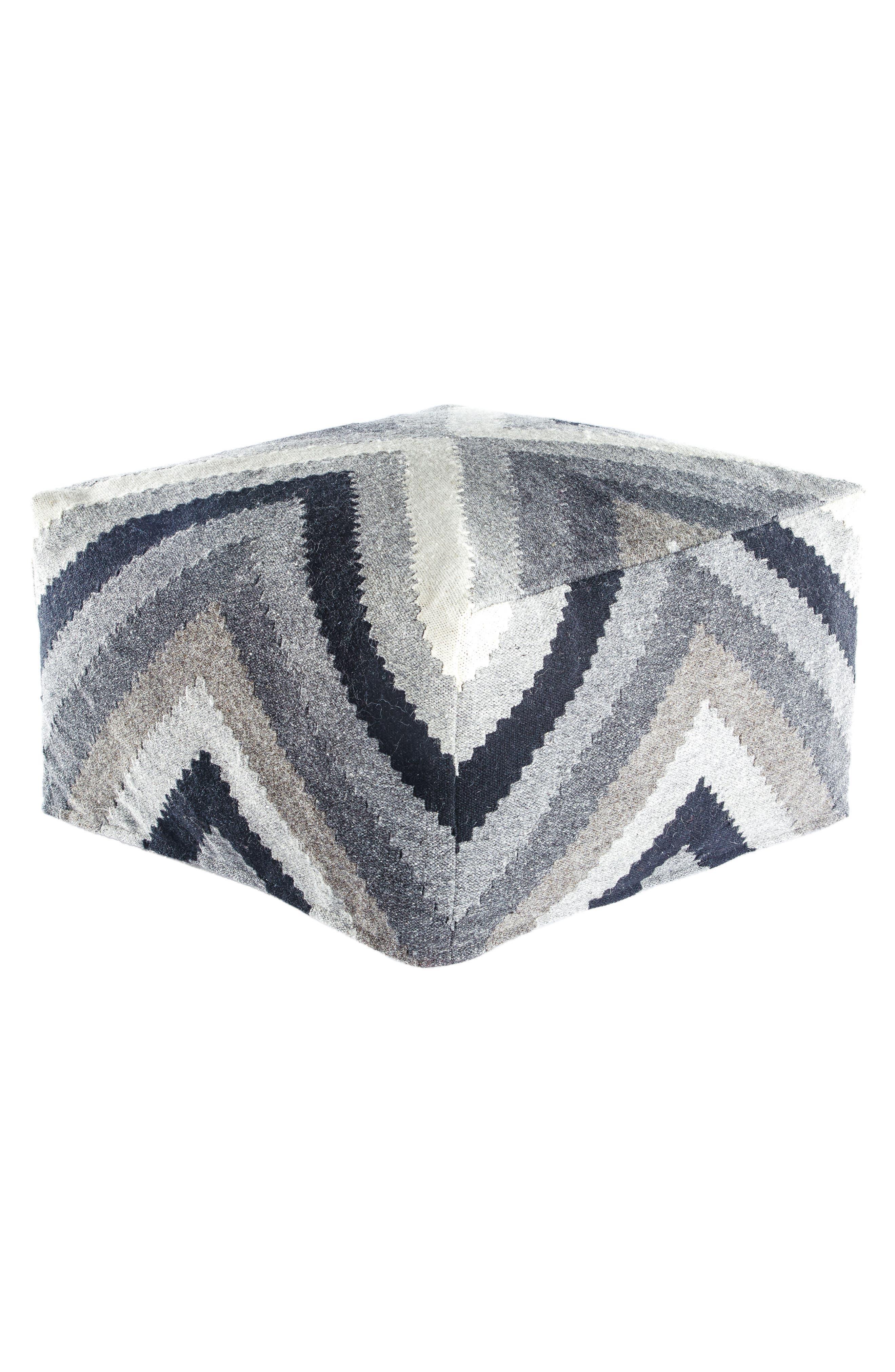 Diamond Dove Pouf,                         Main,                         color, Grey/ Silver