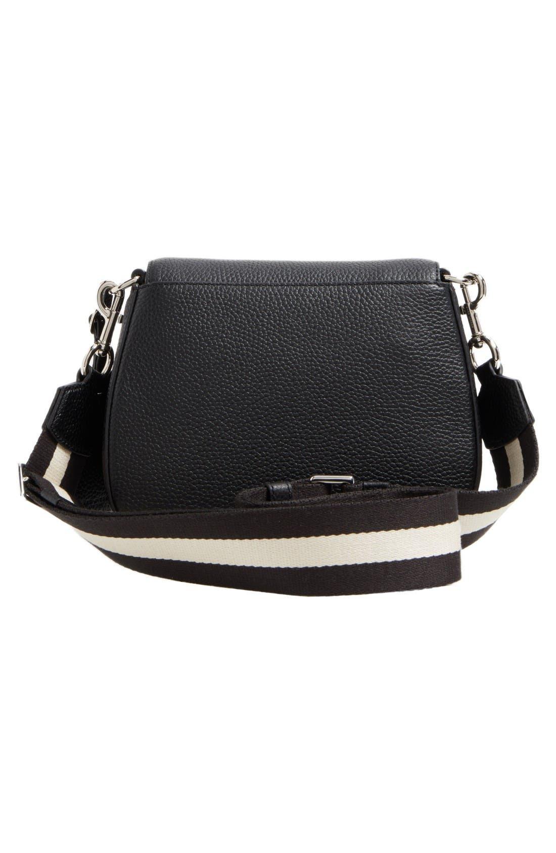 Small Nomad Gotham Leather Crossbody Bag,                             Alternate thumbnail 3, color,                             Black