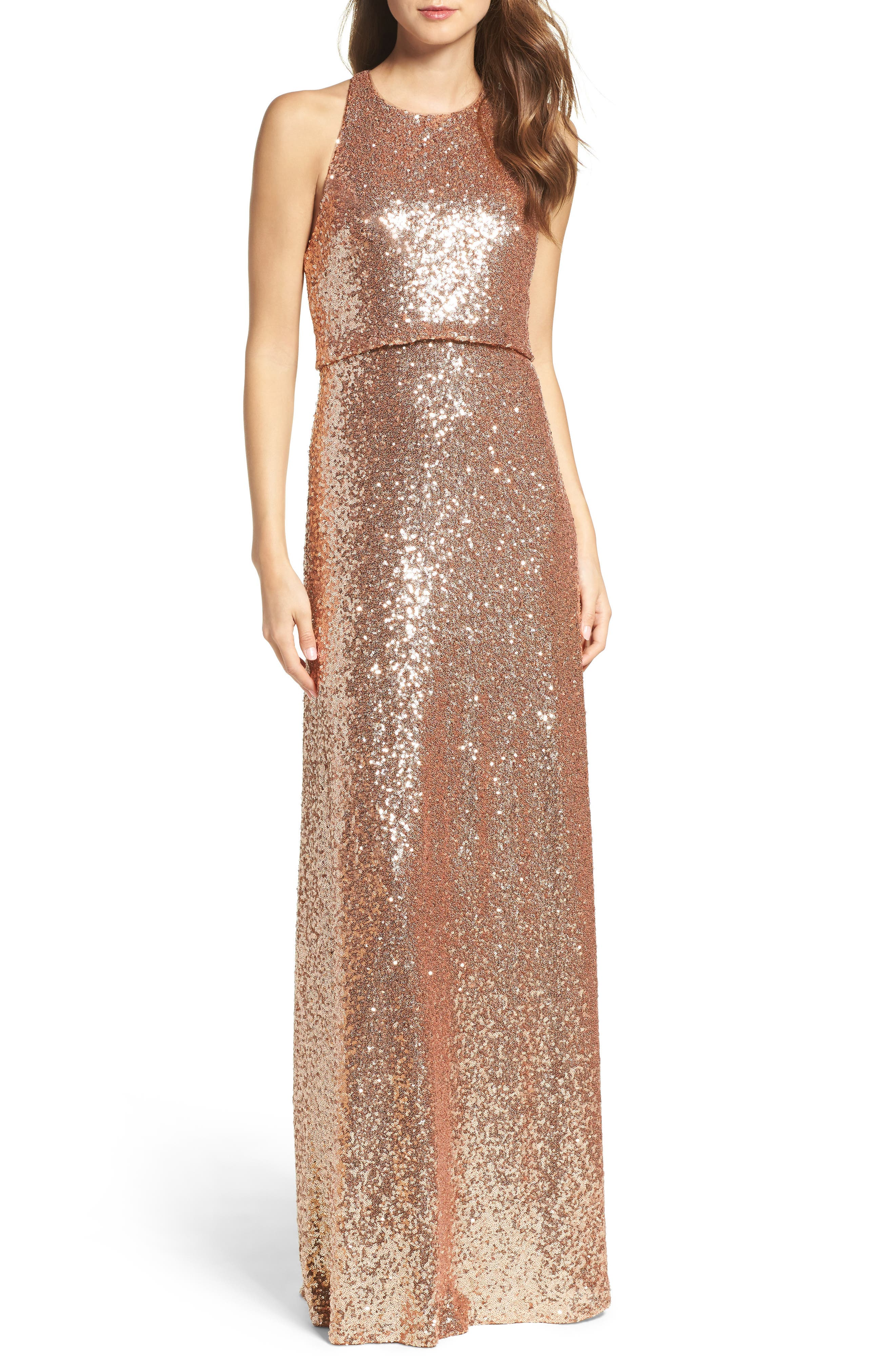 Sloane Sequin Halter Gown,                             Main thumbnail 1, color,                             Rose Gold