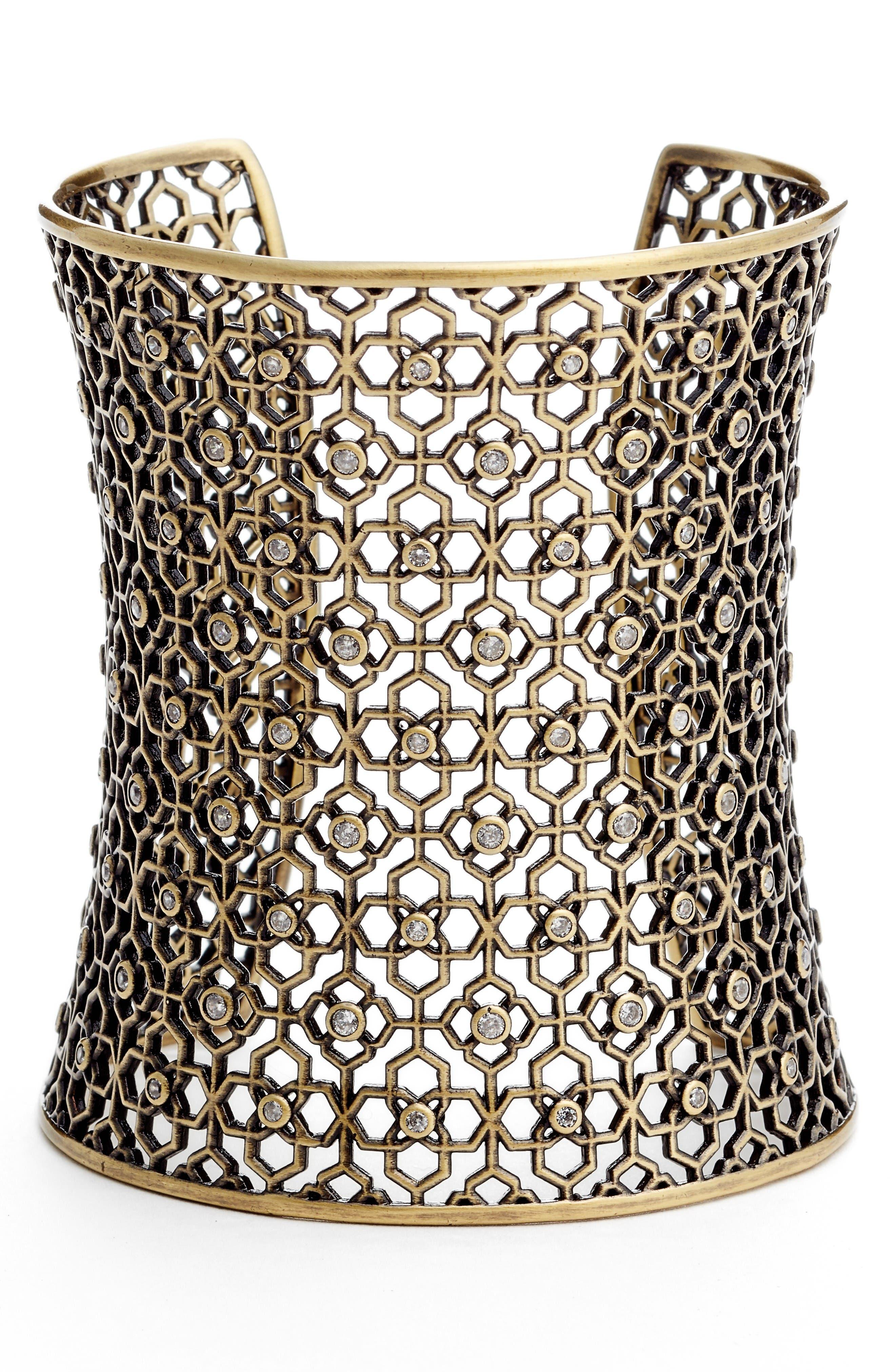 Jude Extra Wide Cuff,                         Main,                         color, White Cz/ Antique Brass