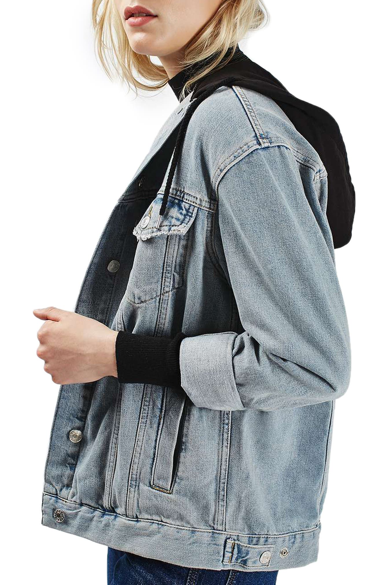 Alternate Image 4  - Topshop Hooded Denim Jacket