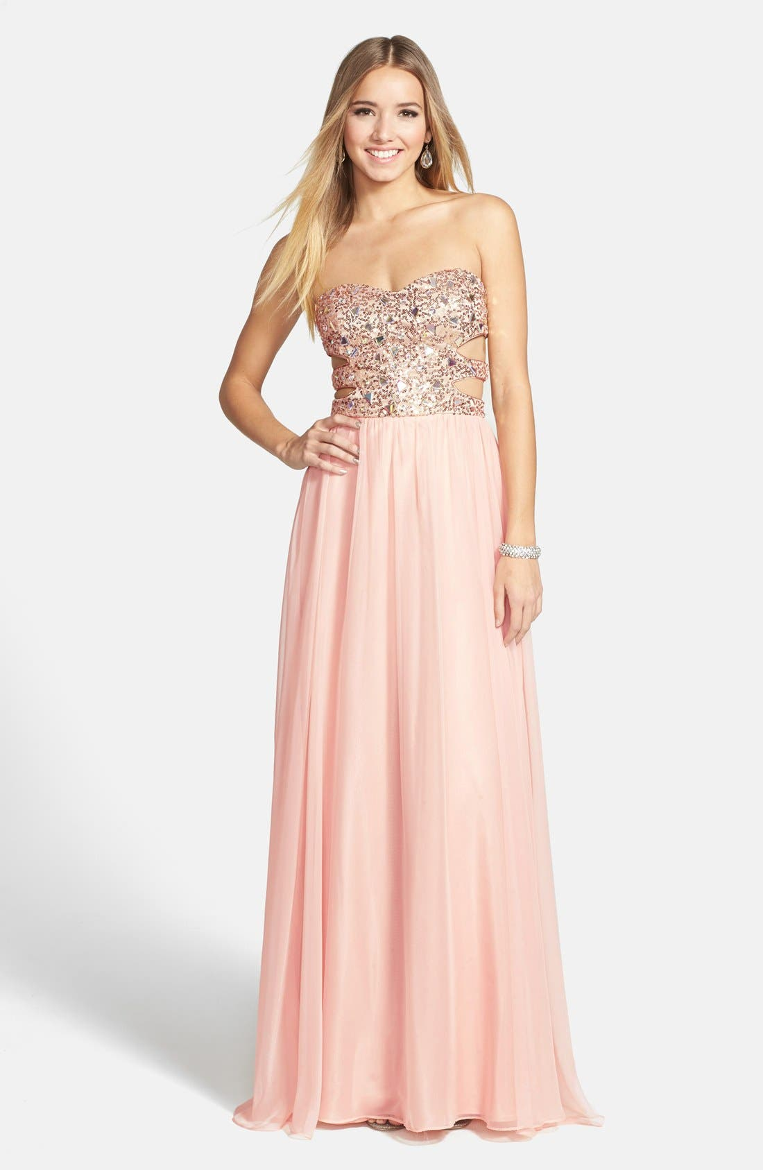 Main Image - Morgan & Co. Embellished Cutout Sweetheart Bodice Strapless Gown (Juniors)