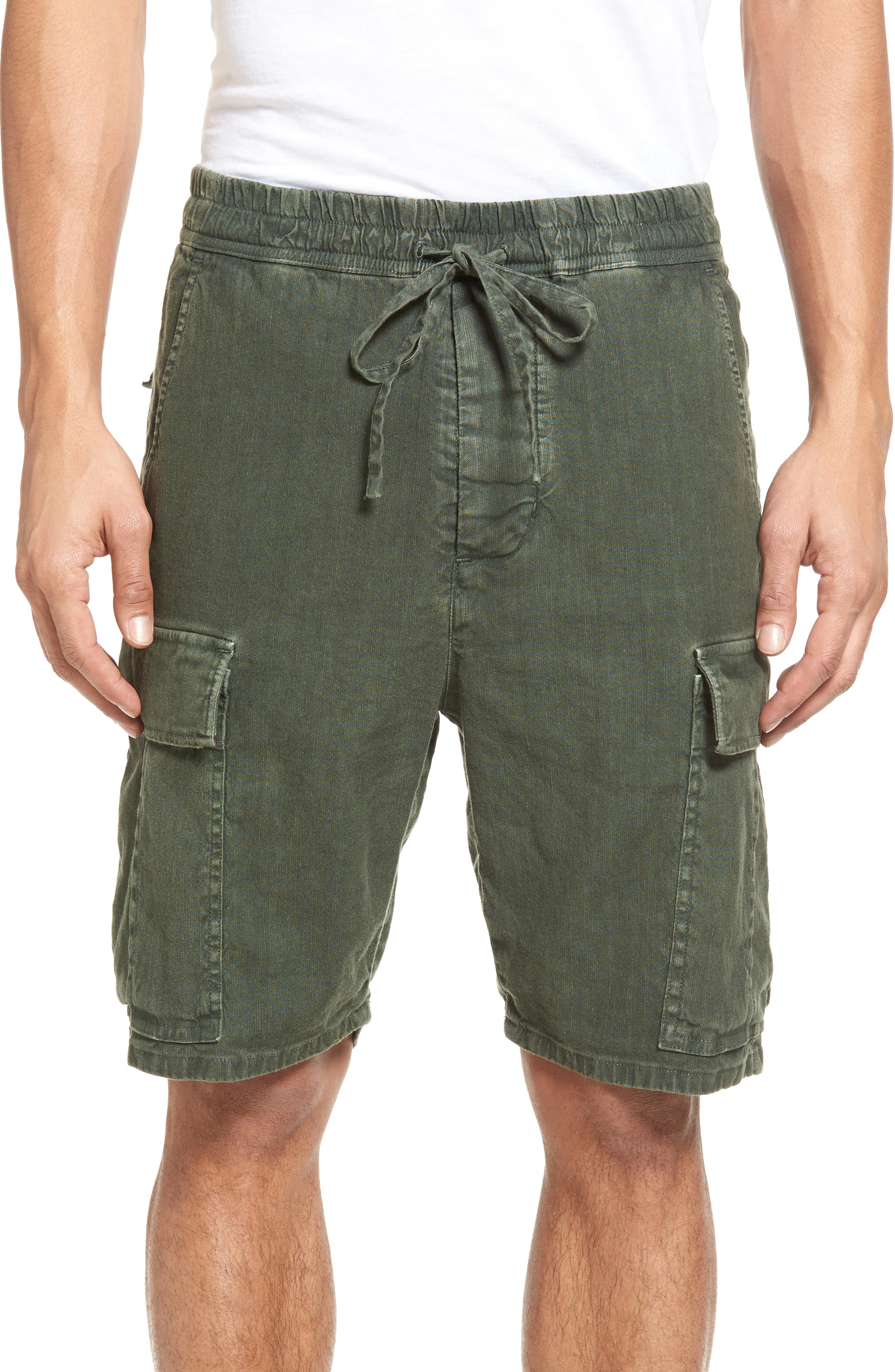 Vince Drop Crotch Linen Blend Cargo Shorts
