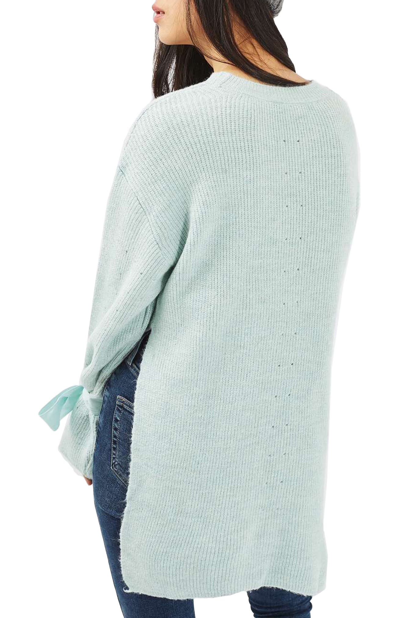 Alternate Image 2  - Topshop Tie Cuff Sweater (Regular & Petite)
